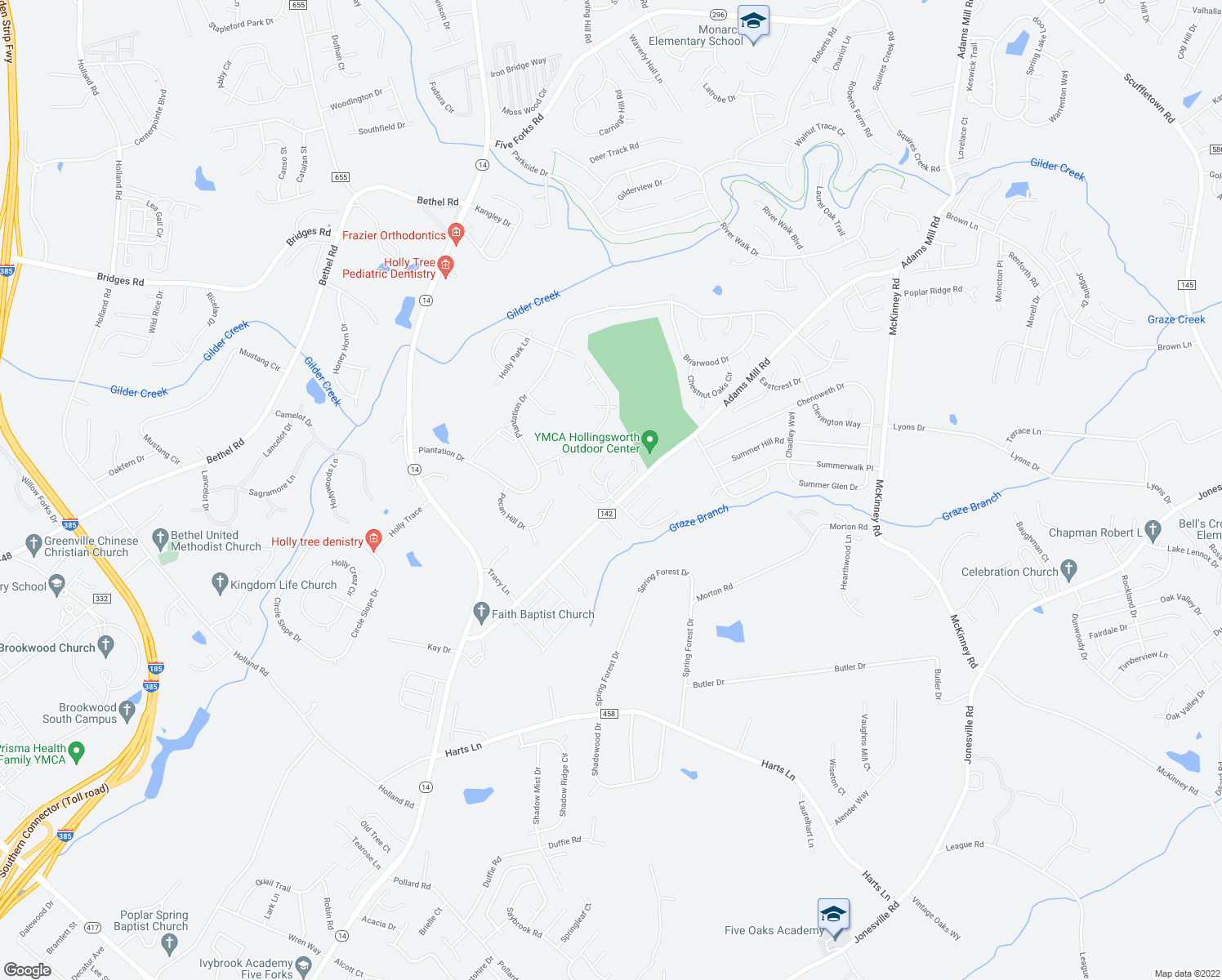 map of restaurants, bars, coffee shops, grocery stores, and more near 344-398 Adams Mill Road in Simpsonville