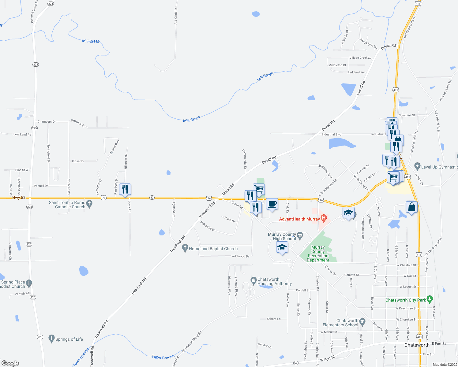 map of restaurants, bars, coffee shops, grocery stores, and more near 91 Duvall Road in Chatsworth