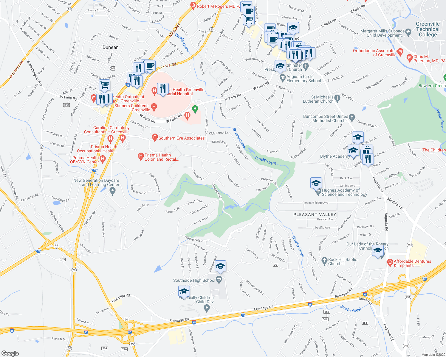 map of restaurants, bars, coffee shops, grocery stores, and more near 5 Garden Trail in Greenville
