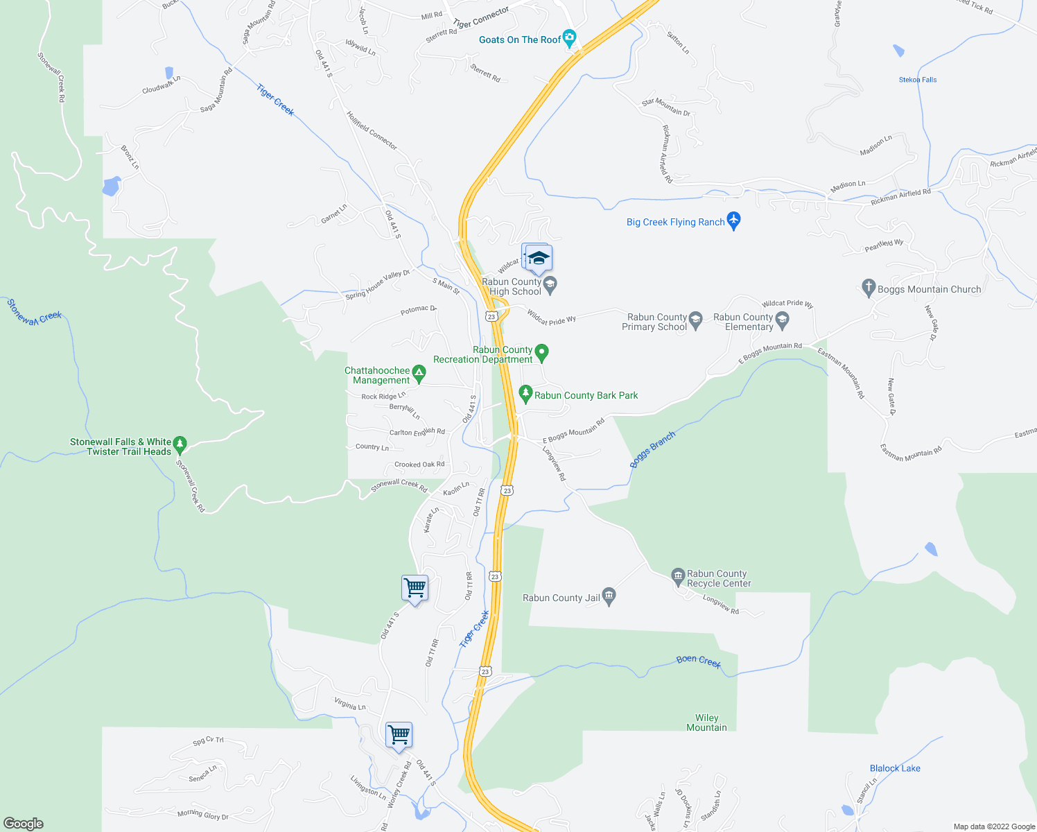map of restaurants, bars, coffee shops, grocery stores, and more near Rabun County Park Road in Clayton