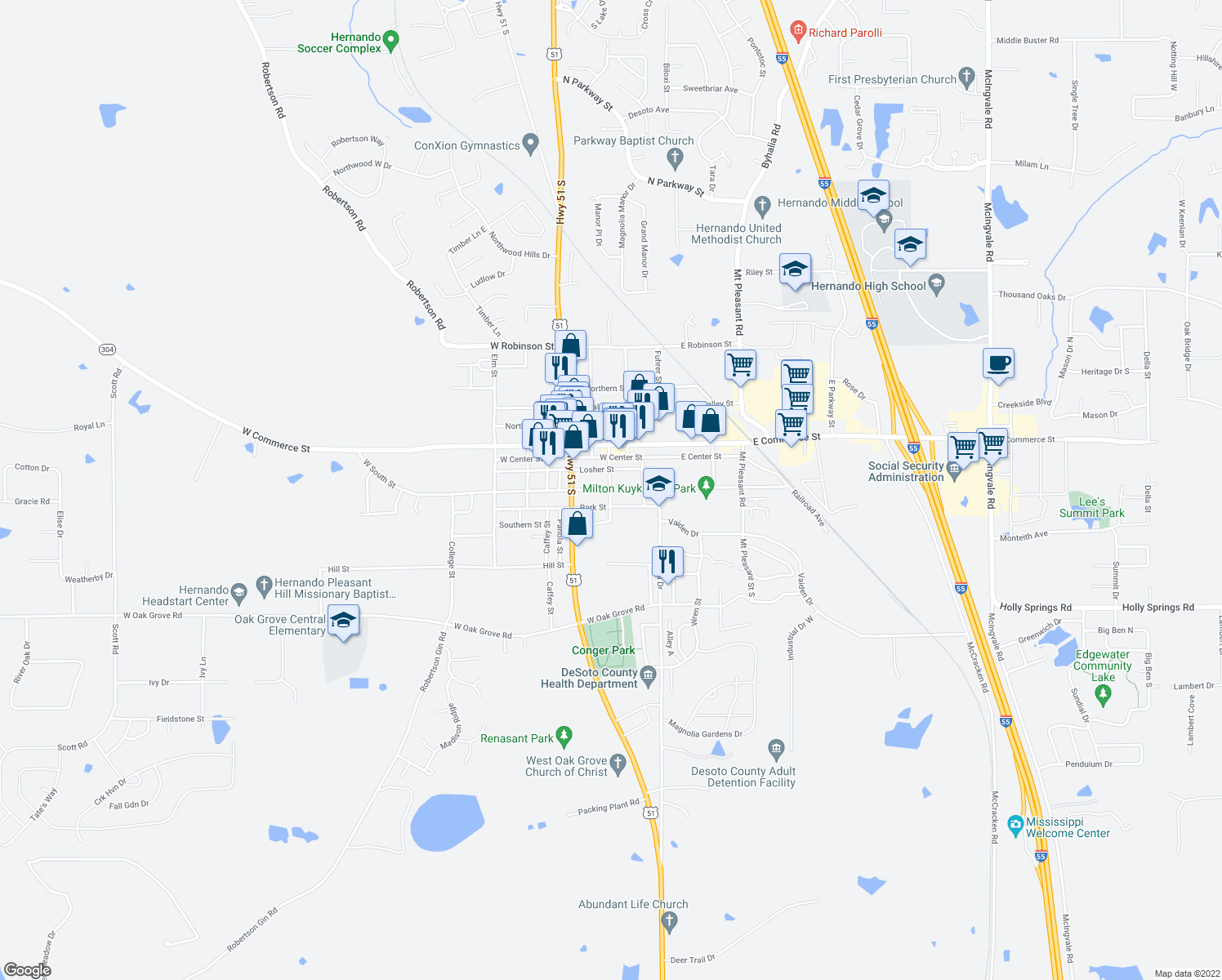 map of restaurants, bars, coffee shops, grocery stores, and more near 190 Park Street in Hernando