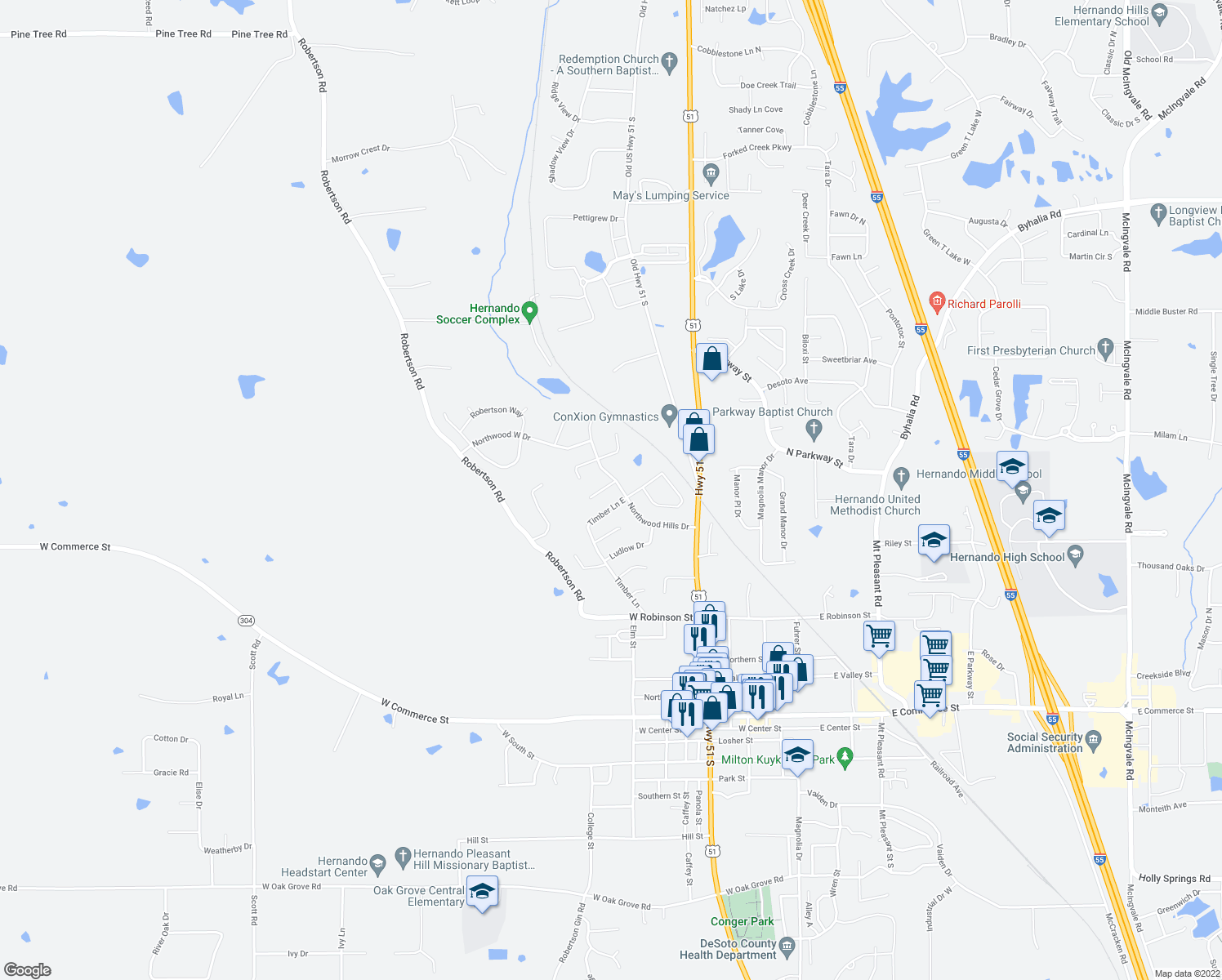 map of restaurants, bars, coffee shops, grocery stores, and more near 1758 Northwood Hills Cove in Hernando