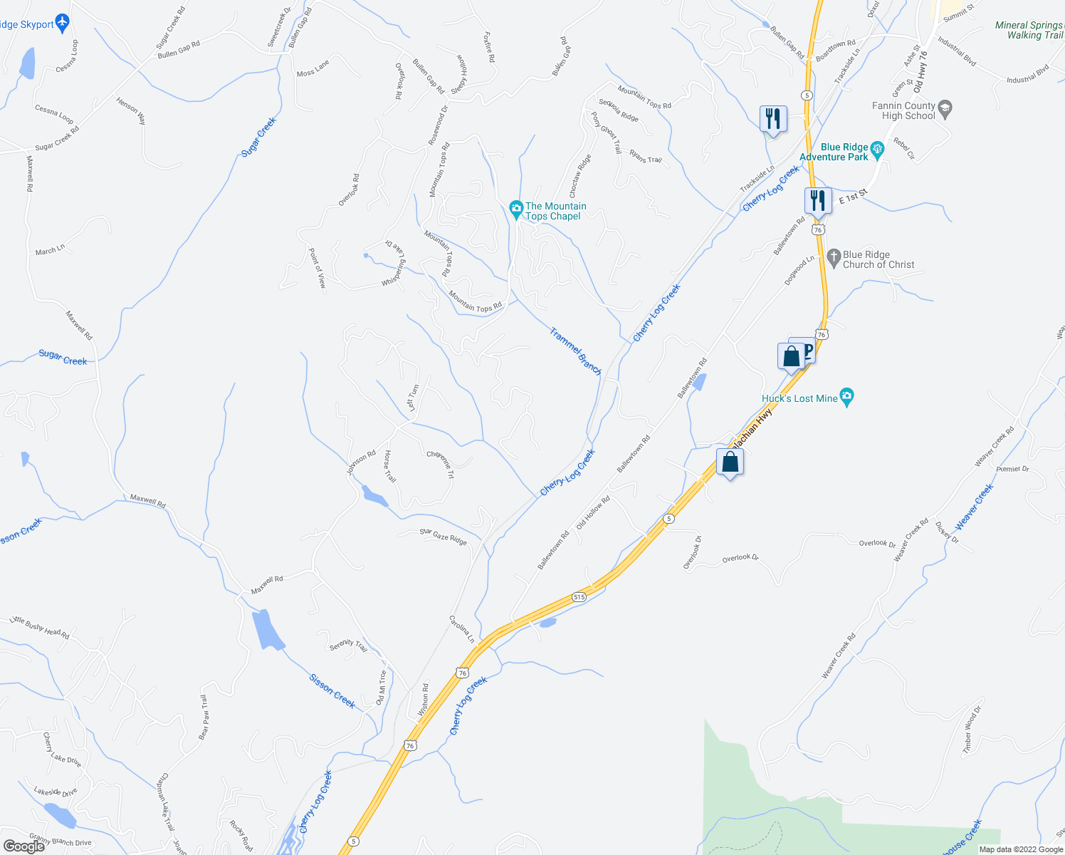 map of restaurants, bars, coffee shops, grocery stores, and more near South Dream Catcher in Blue Ridge