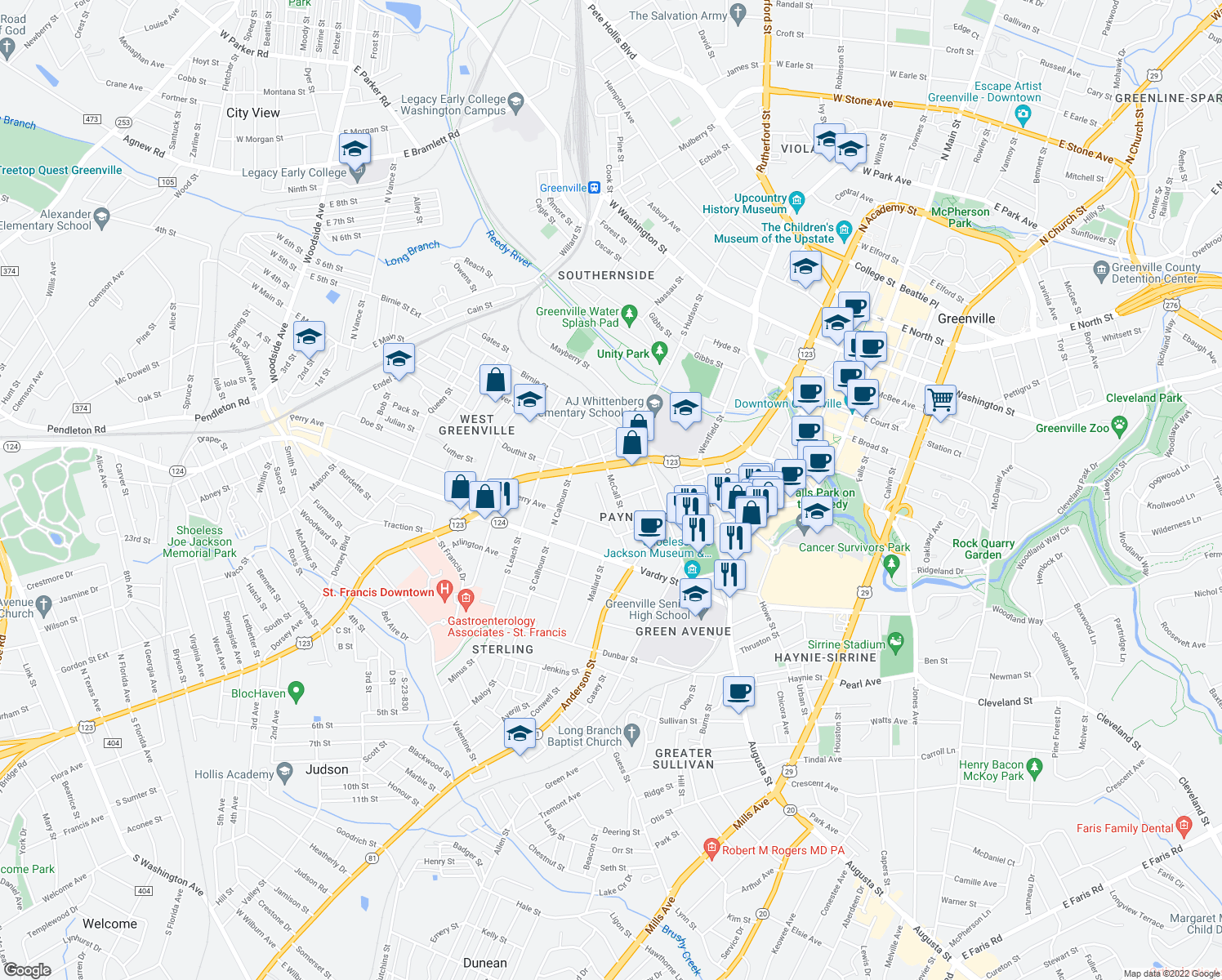 map of restaurants, bars, coffee shops, grocery stores, and more near 105 McCall Street in Greenville