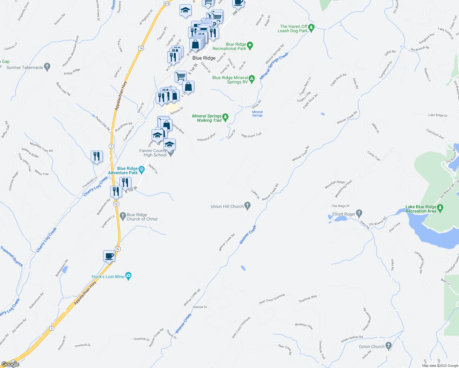 map of restaurants, bars, coffee shops, grocery stores, and more near Calen Drive in Blue Ridge