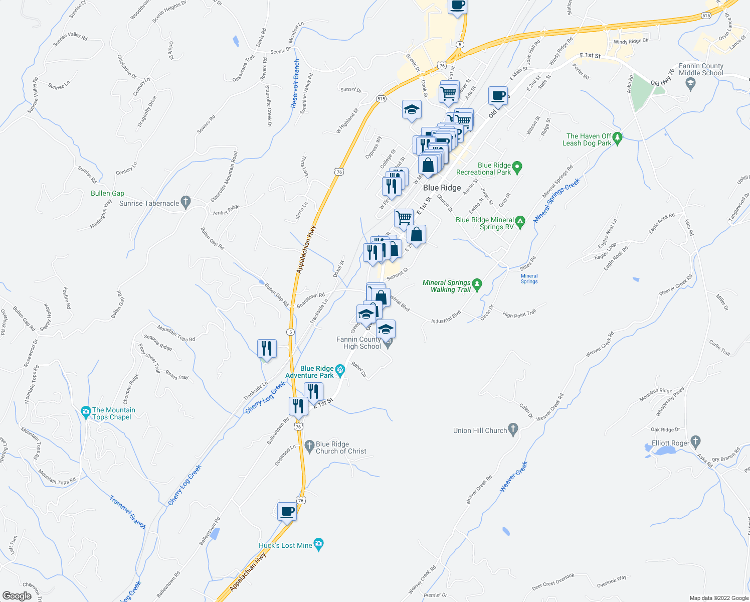 map of restaurants, bars, coffee shops, grocery stores, and more near 793 Brittney Drive in Blue Ridge