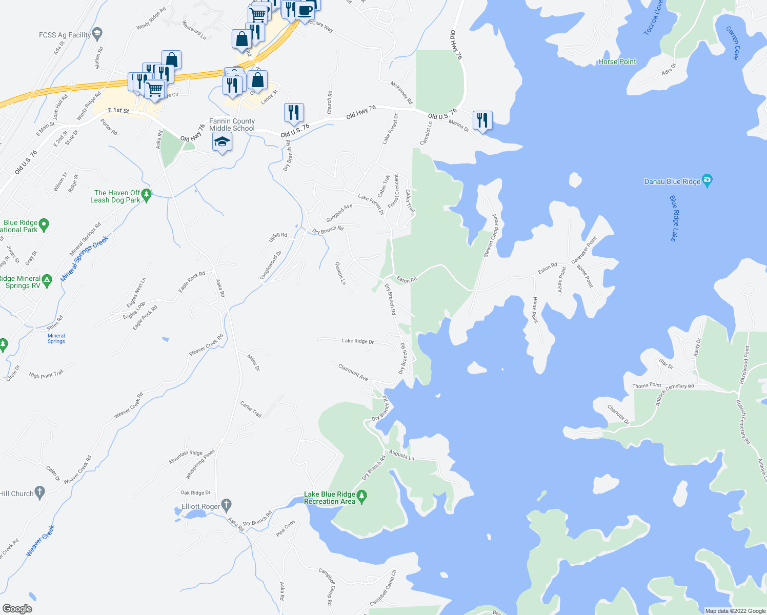 map of restaurants, bars, coffee shops, grocery stores, and more near 101 Lake Ridge Drive in Blue Ridge