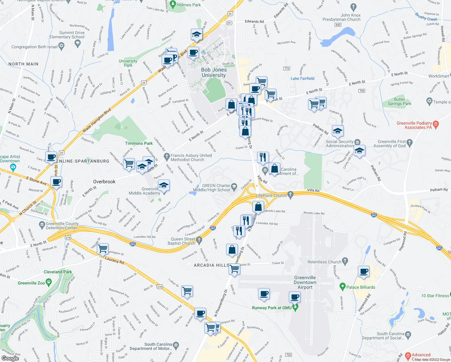 map of restaurants, bars, coffee shops, grocery stores, and more near 63-99 Century Circle in Greenville