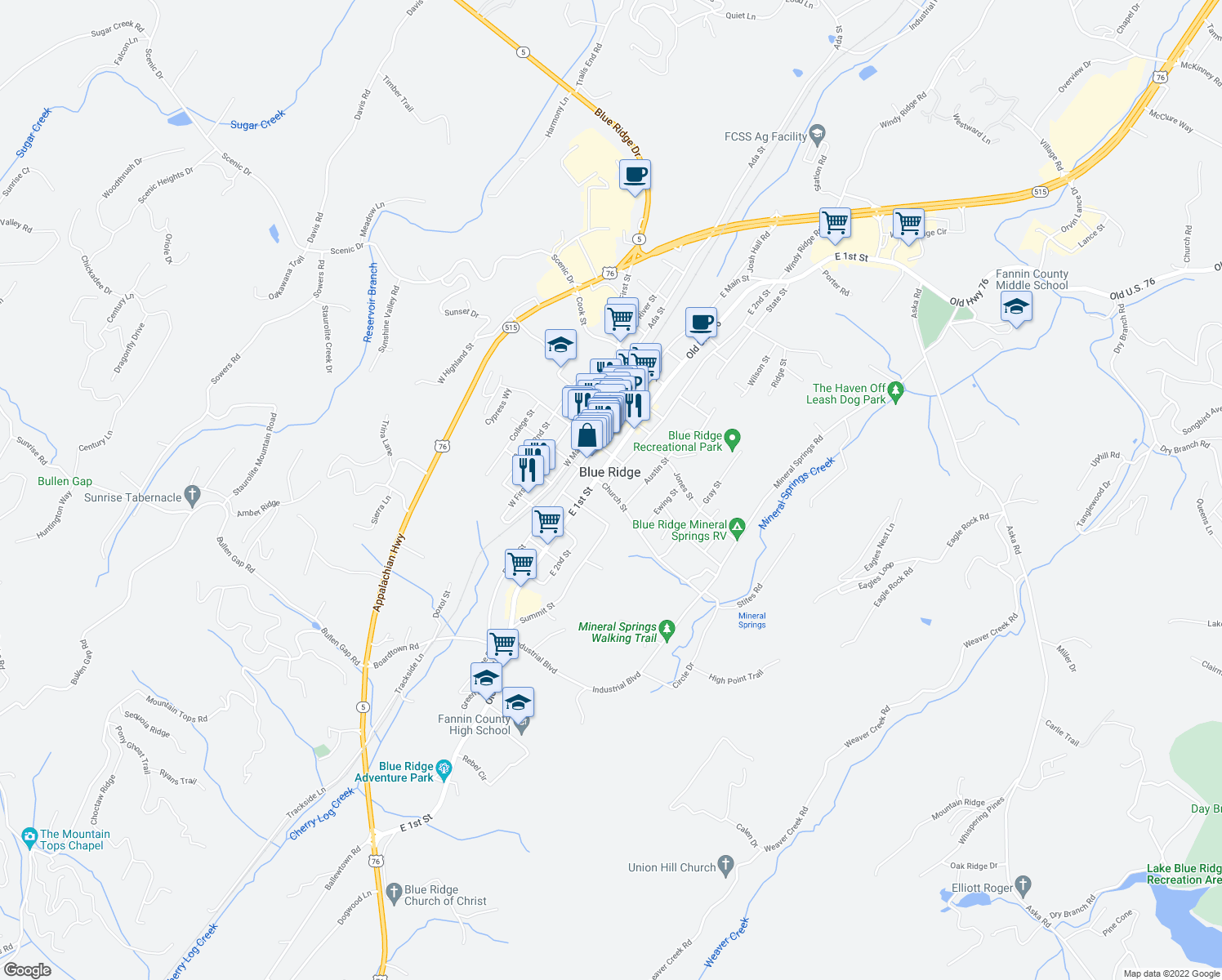 map of restaurants, bars, coffee shops, grocery stores, and more near 84 West Church Street in Blue Ridge