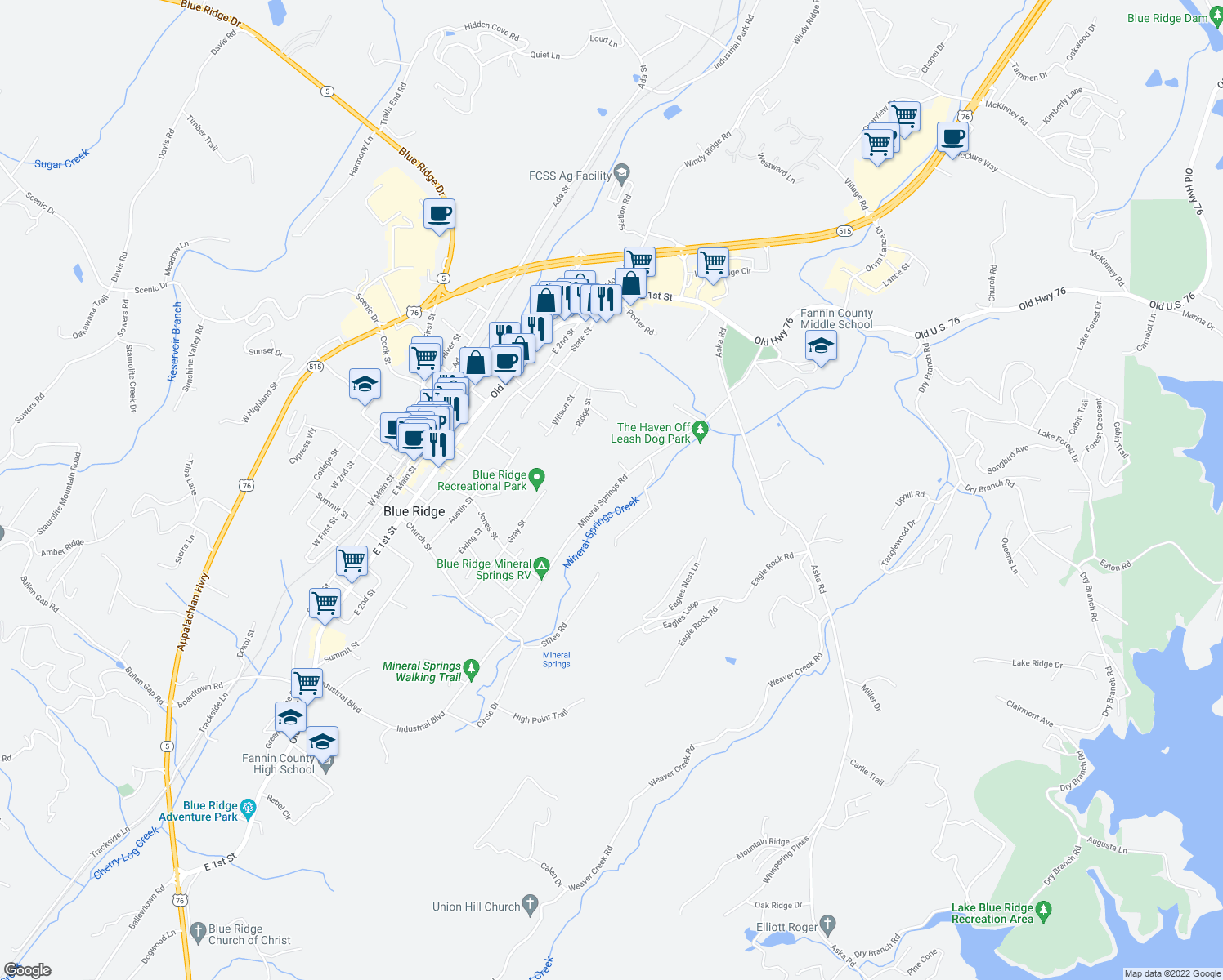 map of restaurants, bars, coffee shops, grocery stores, and more near 616 Mineral Springs Road in Blue Ridge