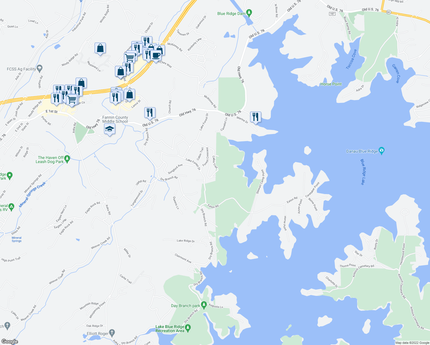 map of restaurants, bars, coffee shops, grocery stores, and more near Cabin Trail in Blue Ridge