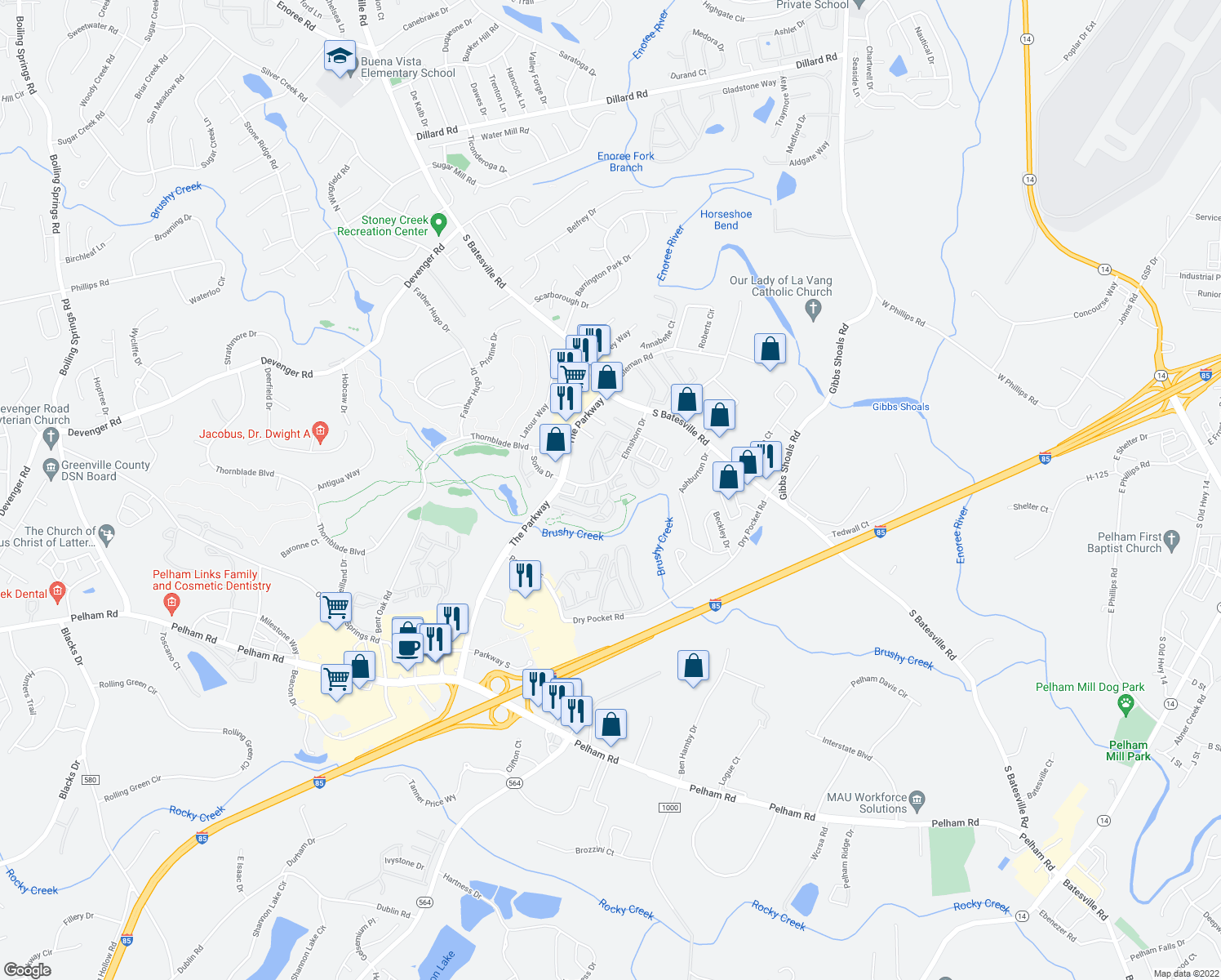 map of restaurants, bars, coffee shops, grocery stores, and more near 100 Mary Rose Lane in Greer