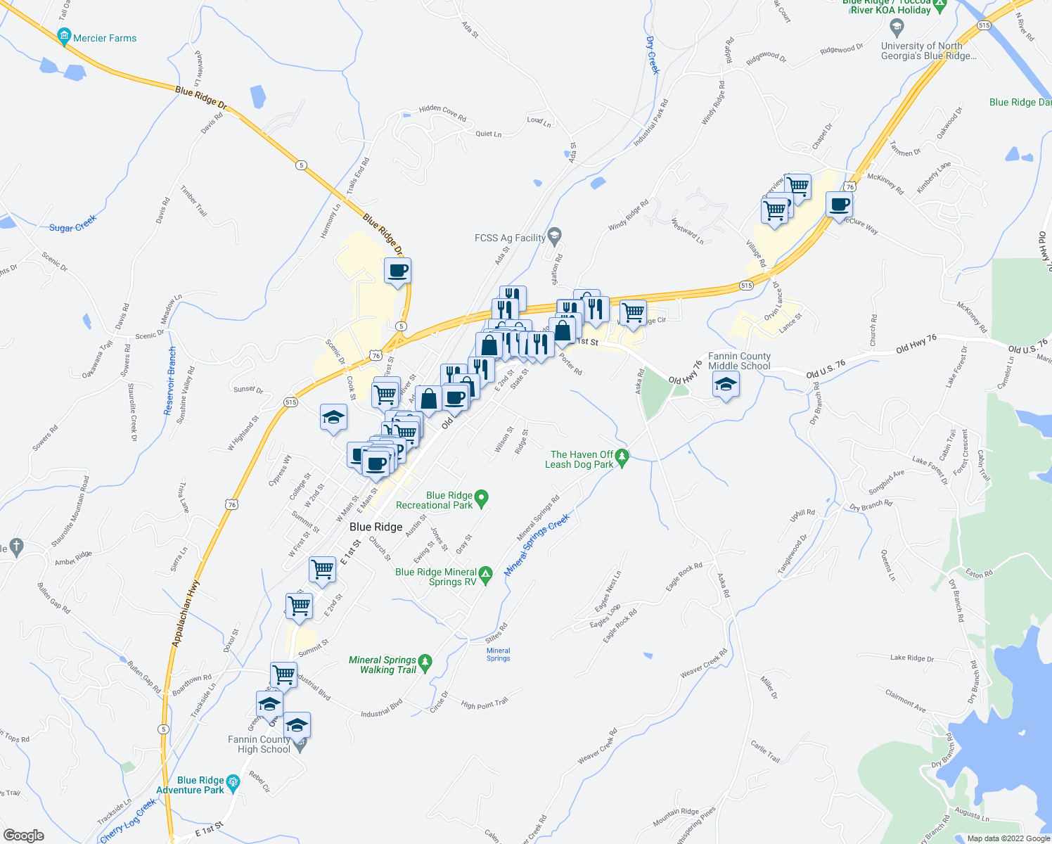 map of restaurants, bars, coffee shops, grocery stores, and more near 139 Ridge Street in Blue Ridge
