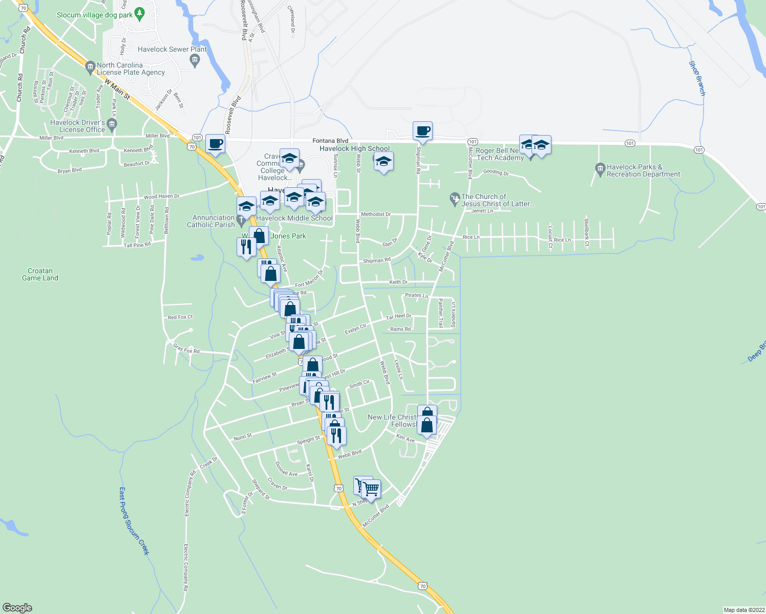 map of restaurants, bars, coffee shops, grocery stores, and more near 113 Tar Heel Drive in Havelock