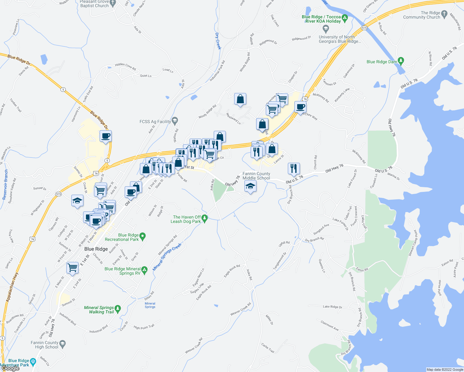 map of restaurants, bars, coffee shops, grocery stores, and more near 5370 Old Highway 76 in Blue Ridge