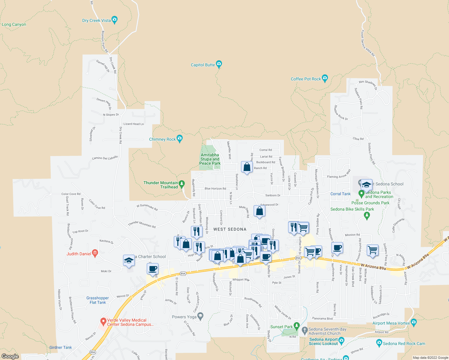 map of restaurants, bars, coffee shops, grocery stores, and more near 700 Andante Drive in Sedona