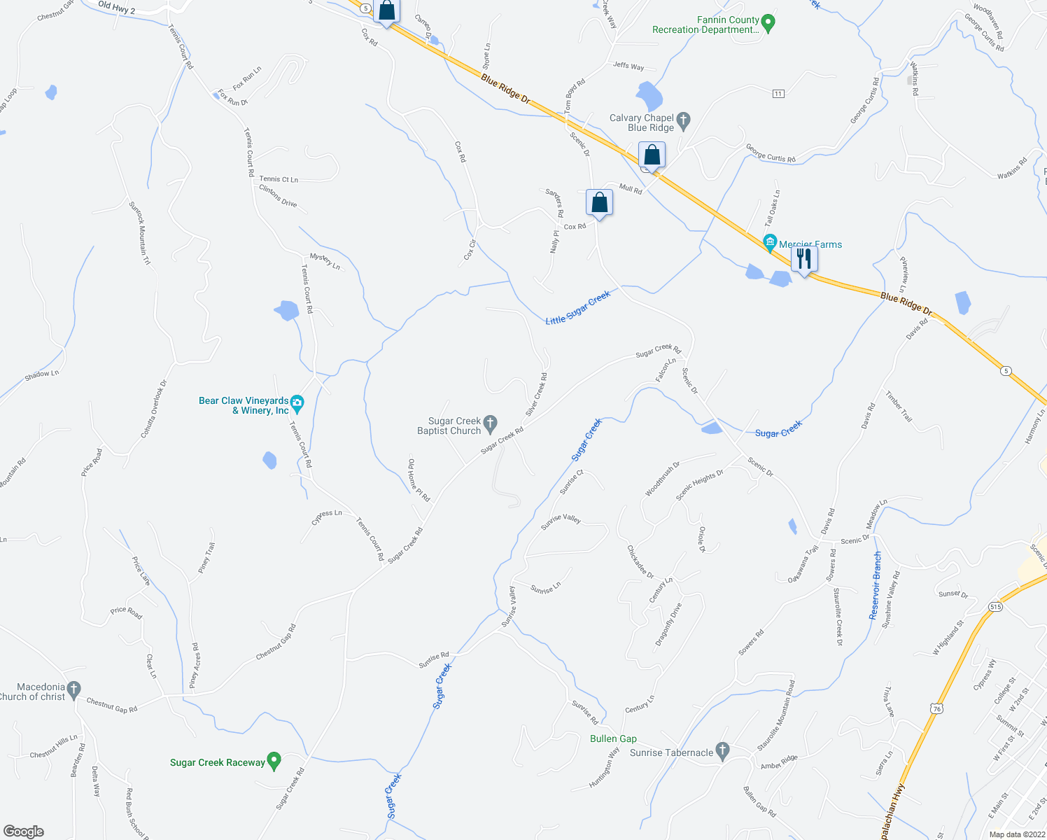 map of restaurants, bars, coffee shops, grocery stores, and more near Silver Creek Road in Blue Ridge