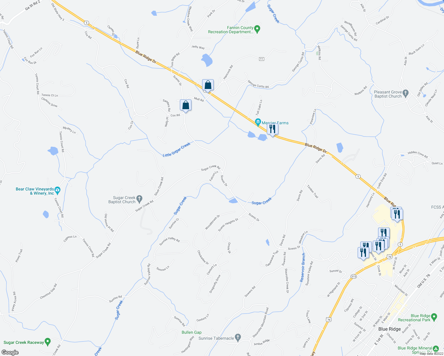 map of restaurants, bars, coffee shops, grocery stores, and more near Scenic Drive in Blue Ridge