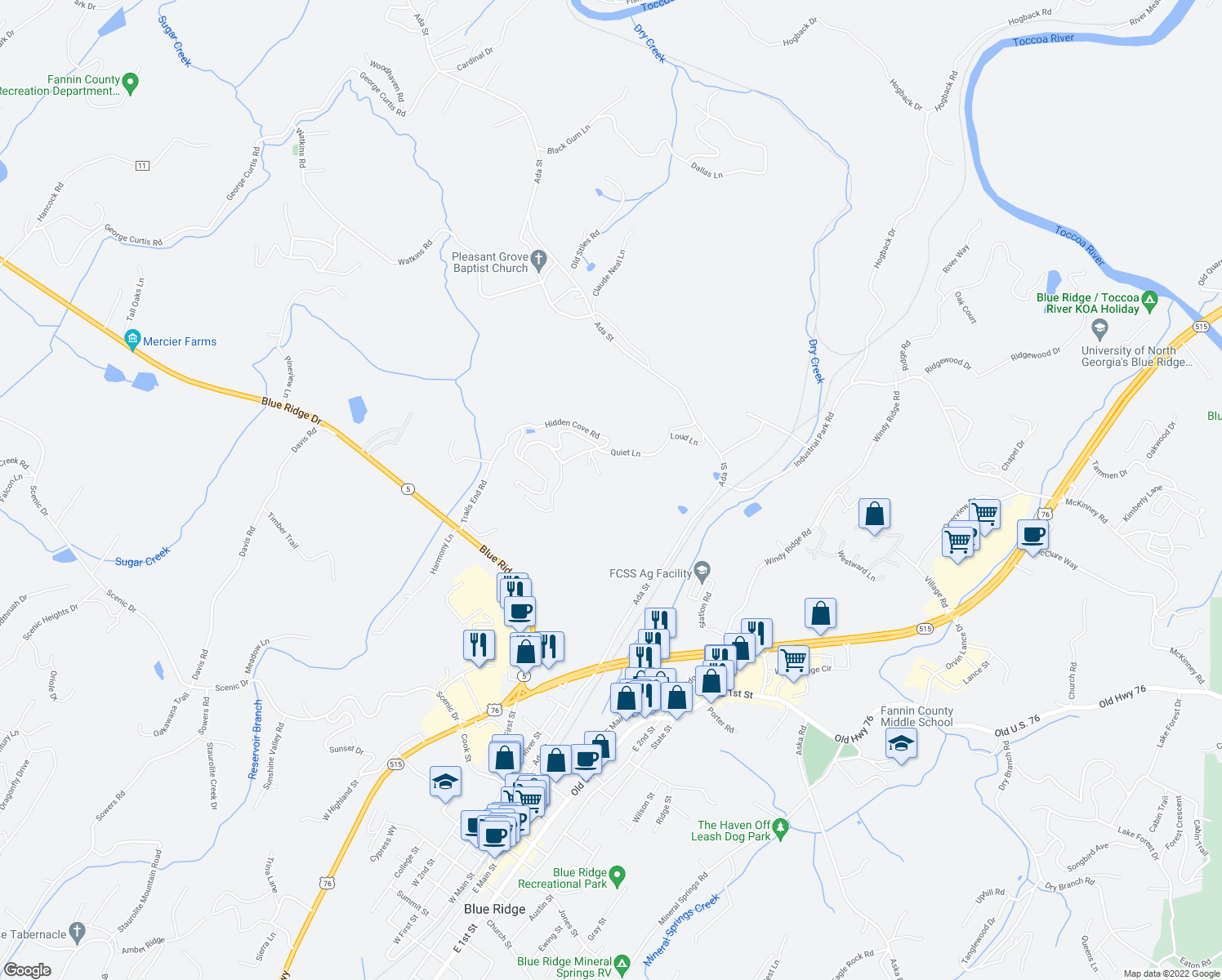 map of restaurants, bars, coffee shops, grocery stores, and more near 238 Trails End Road in Blue Ridge