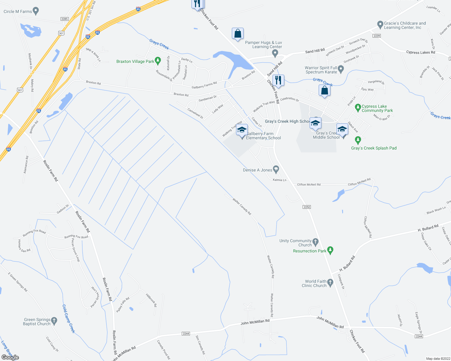 map of restaurants, bars, coffee shops, grocery stores, and more near 5580 Walter Canady Road in Hope Mills