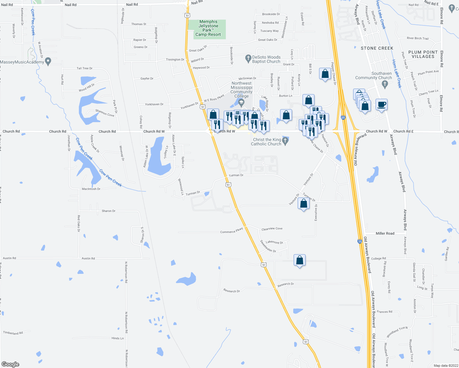 map of restaurants, bars, coffee shops, grocery stores, and more near 4740 Highway 51 in Southaven