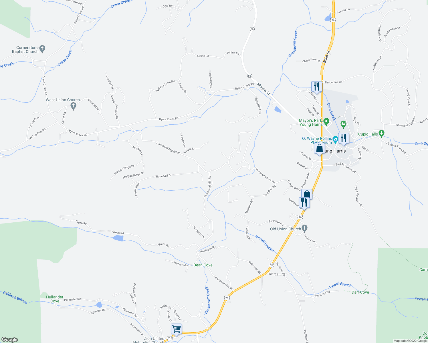 map of restaurants, bars, coffee shops, grocery stores, and more near 6159 Brasstown Creek Road in Young Harris