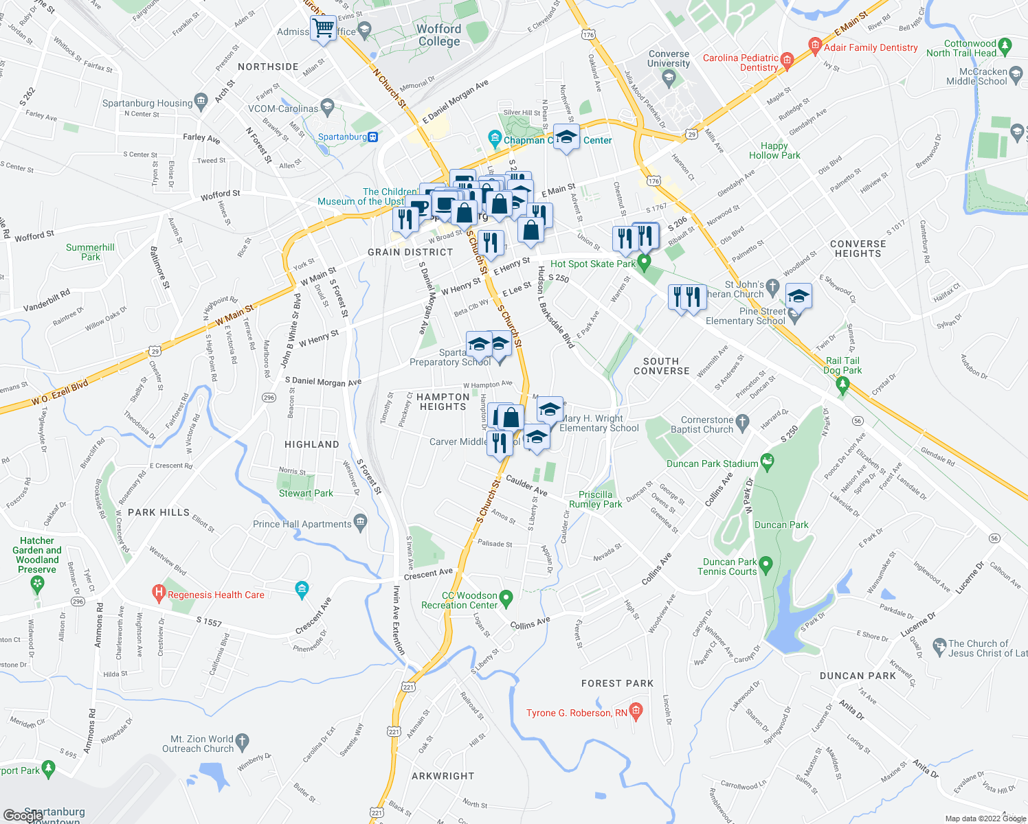 map of restaurants, bars, coffee shops, grocery stores, and more near 496 South Church Street in Spartanburg