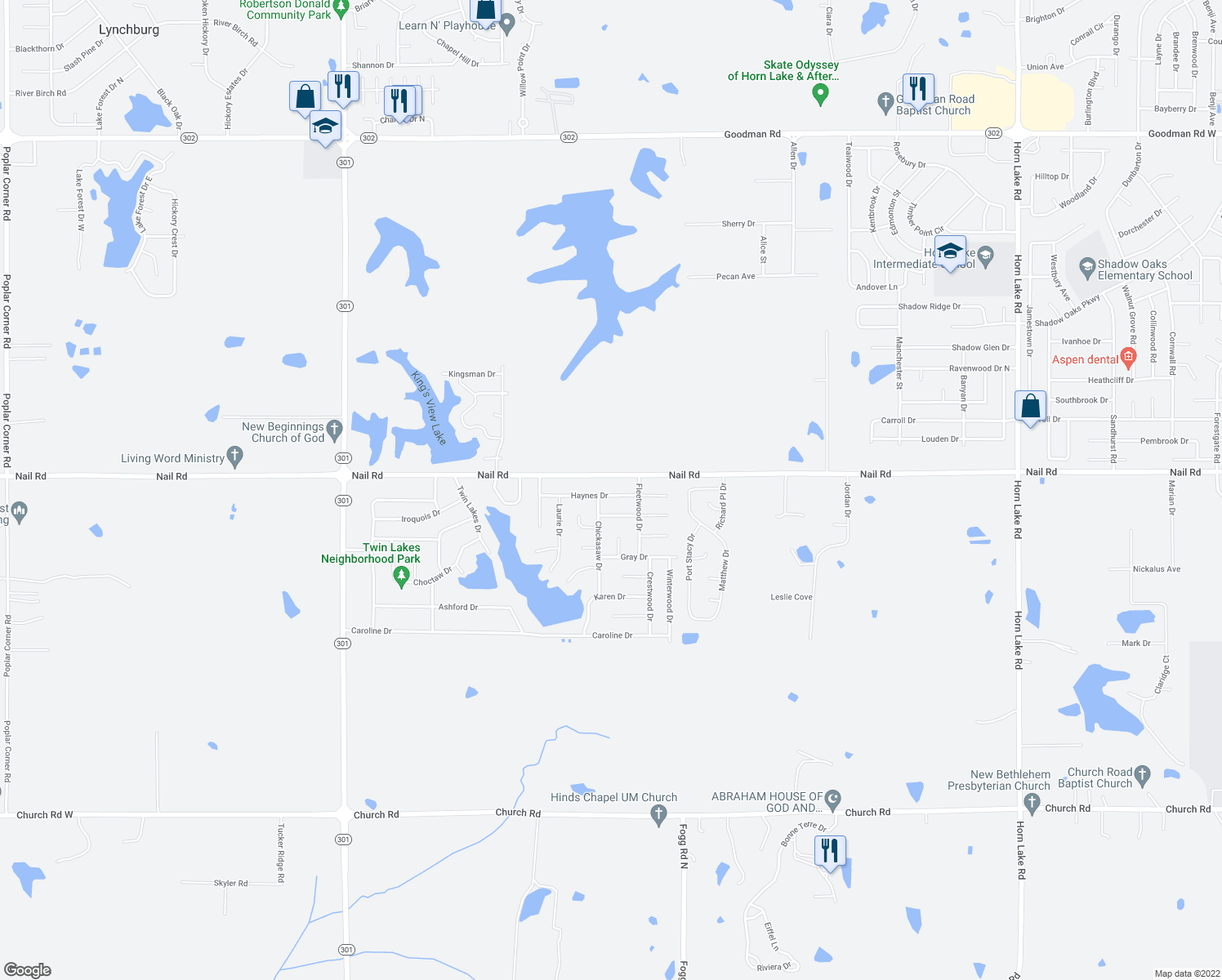 map of restaurants, bars, coffee shops, grocery stores, and more near 5202 Haynes Drive in Horn Lake