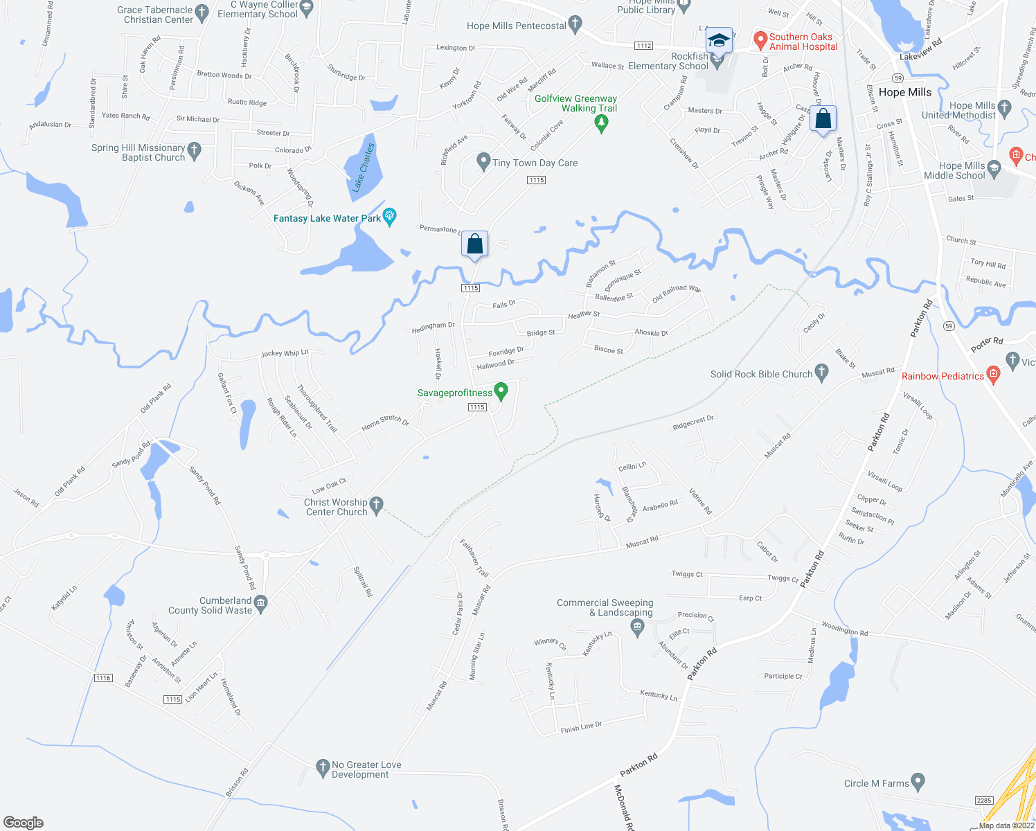map of restaurants, bars, coffee shops, grocery stores, and more near 5523 Rising Ridge Drive in Hope Mills