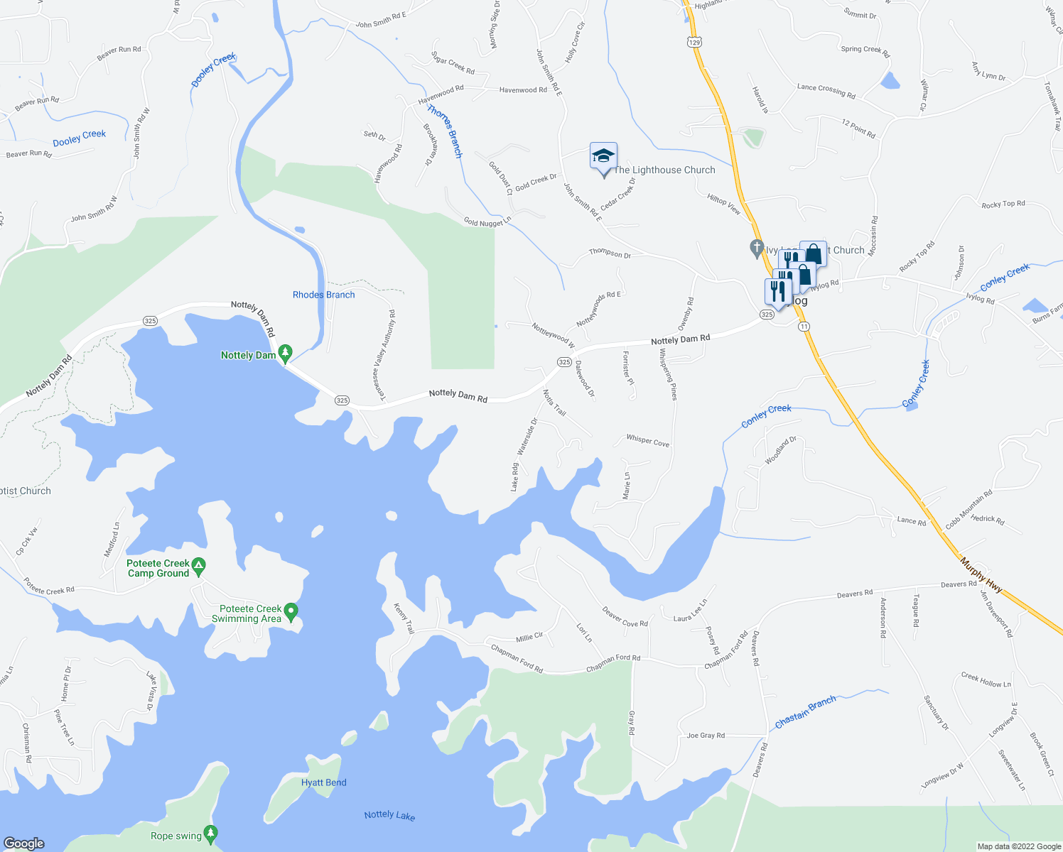 map of restaurants, bars, coffee shops, grocery stores, and more near Waterside Drive in Blairsville
