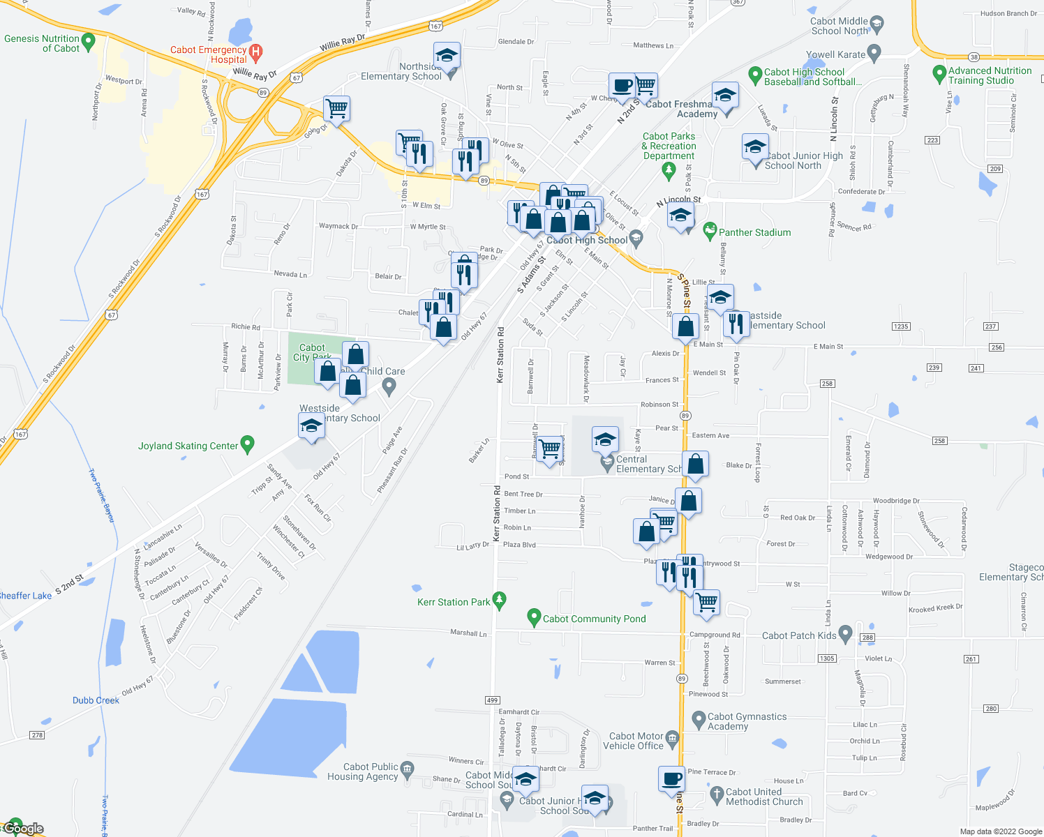 map of restaurants, bars, coffee shops, grocery stores, and more near 76 Pear Street in Cabot