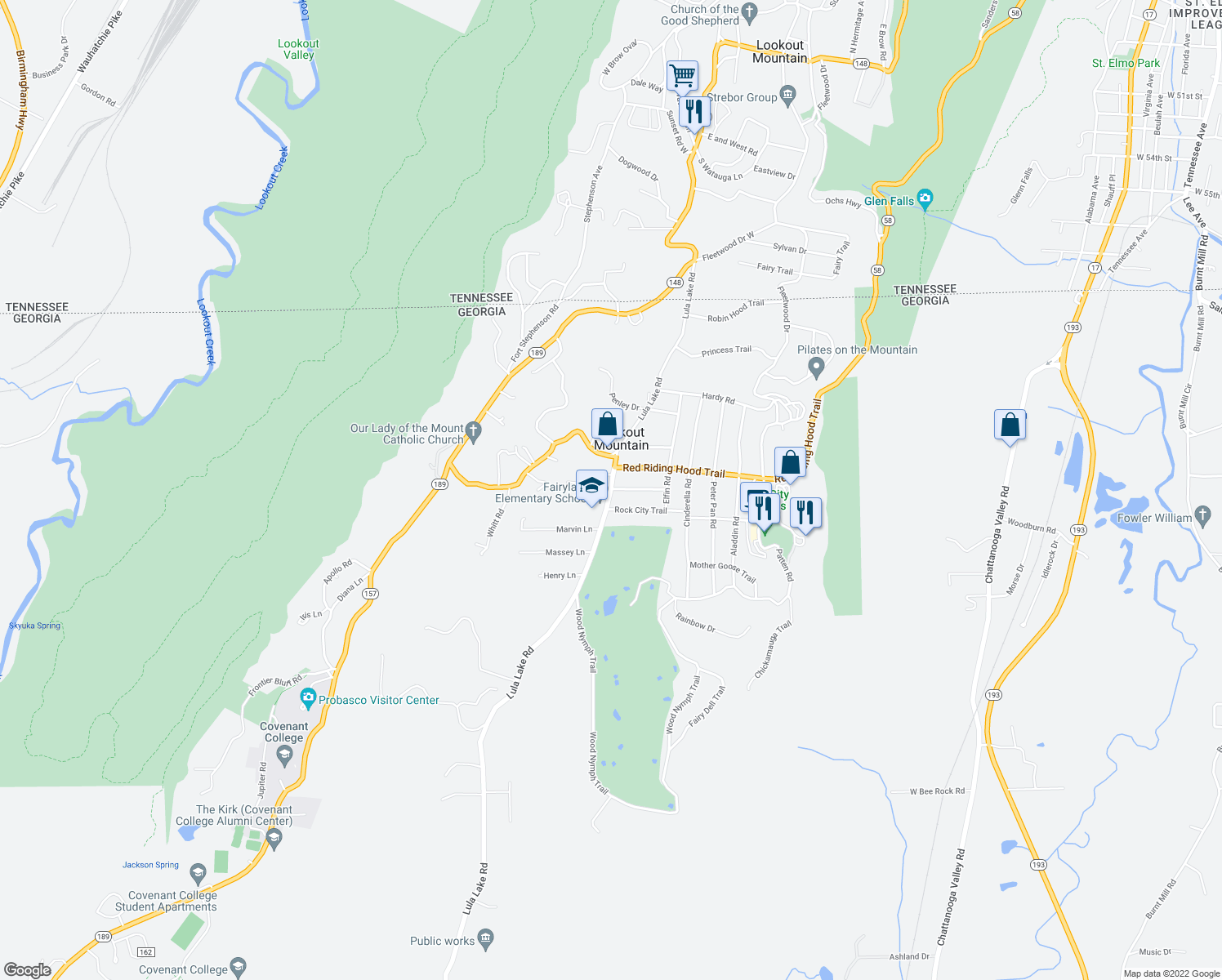 map of restaurants, bars, coffee shops, grocery stores, and more near 1304 Lula Lake Road in Lookout Mountain