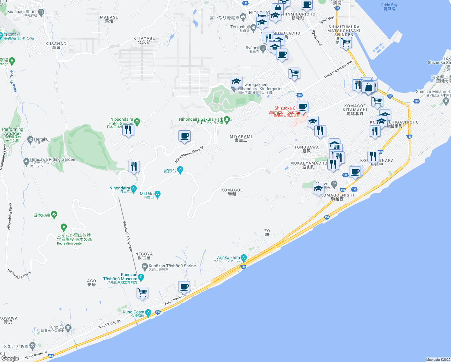map of restaurants, bars, coffee shops, grocery stores, and more near Shimizu Nihondaira Parkway in Shimizu Ward