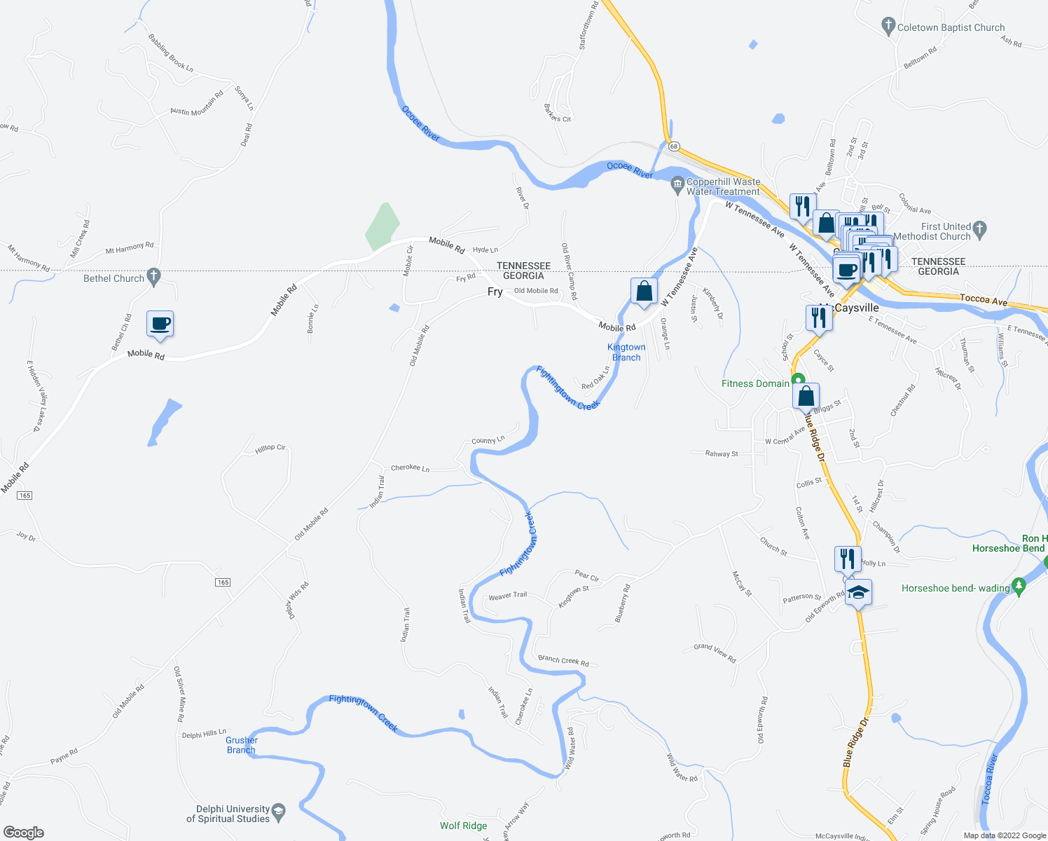 map of restaurants, bars, coffee shops, grocery stores, and more near 227 Country Lane in McCaysville