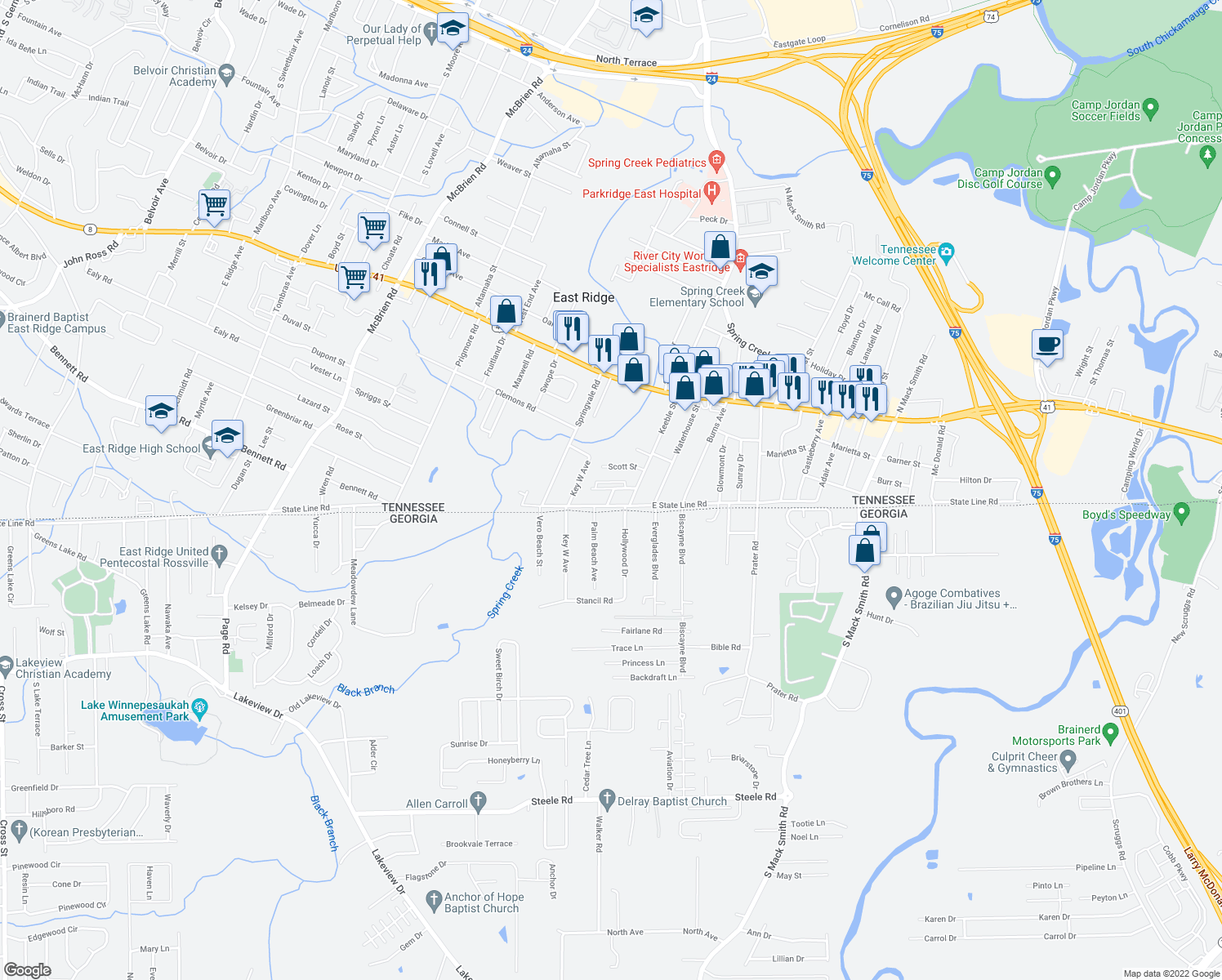 map of restaurants, bars, coffee shops, grocery stores, and more near 5700 Roper Street in East Ridge