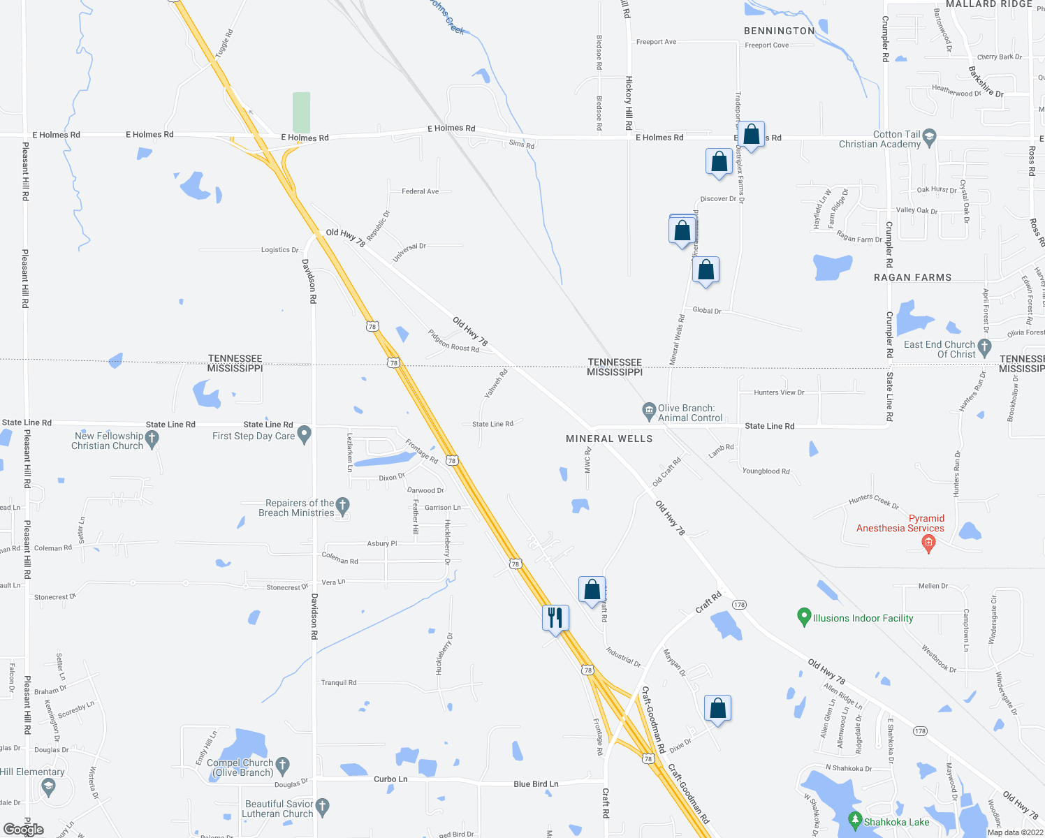 map of restaurants, bars, coffee shops, grocery stores, and more near 9305 State Line Road in Olive Branch