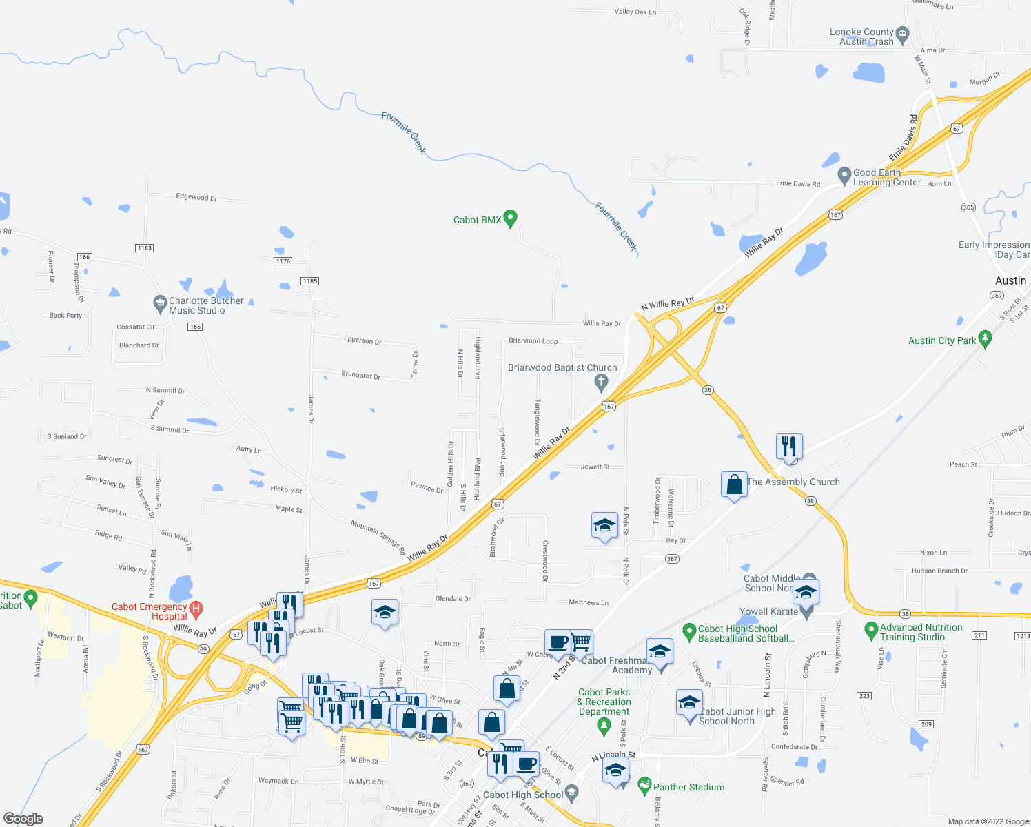 map of restaurants, bars, coffee shops, grocery stores, and more near 252 Briarwood Loop in Cabot