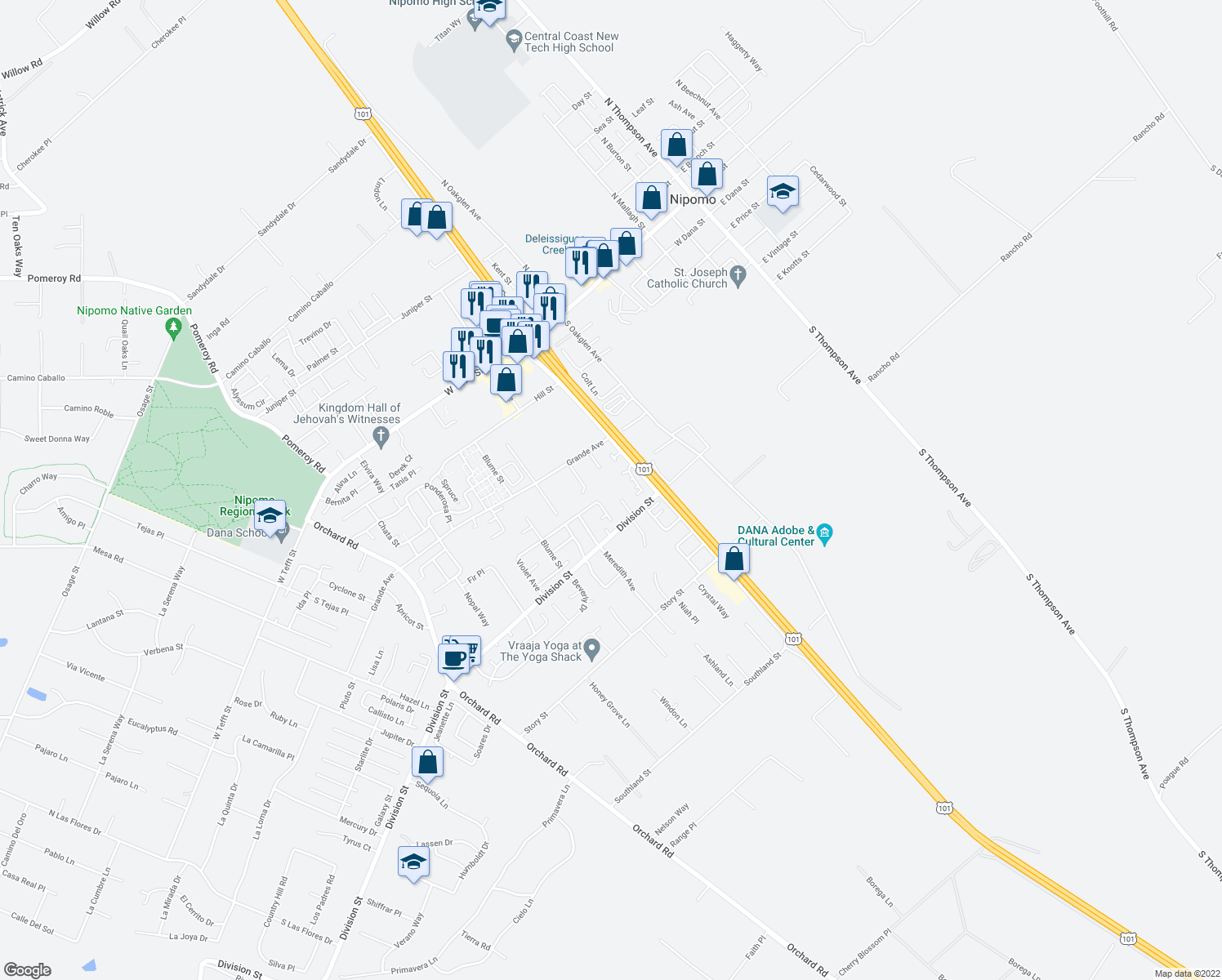 map of restaurants, bars, coffee shops, grocery stores, and more near 450 Avenida De Socios in Nipomo