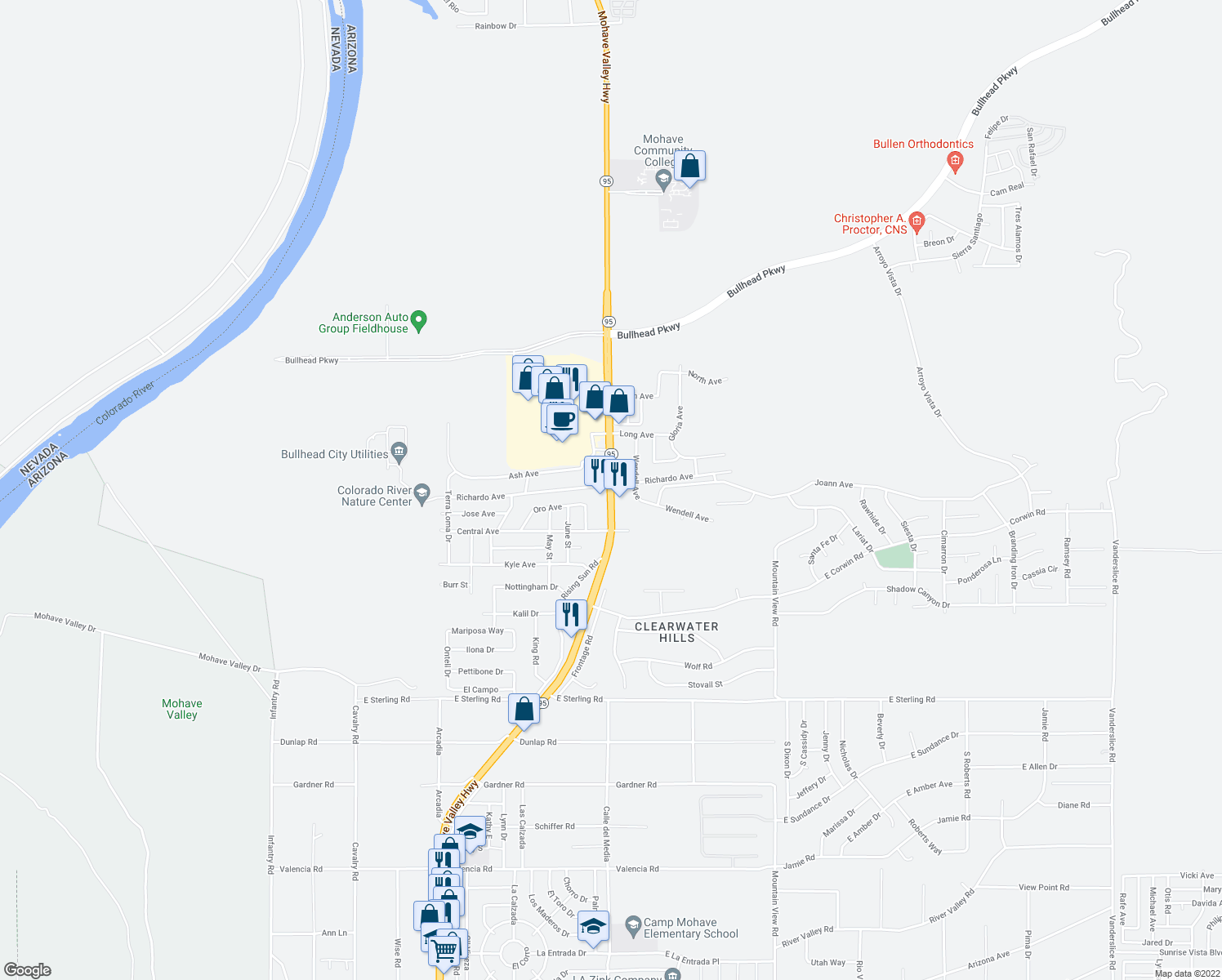 map of restaurants, bars, coffee shops, grocery stores, and more near 3759 Highway 95 in Bullhead City
