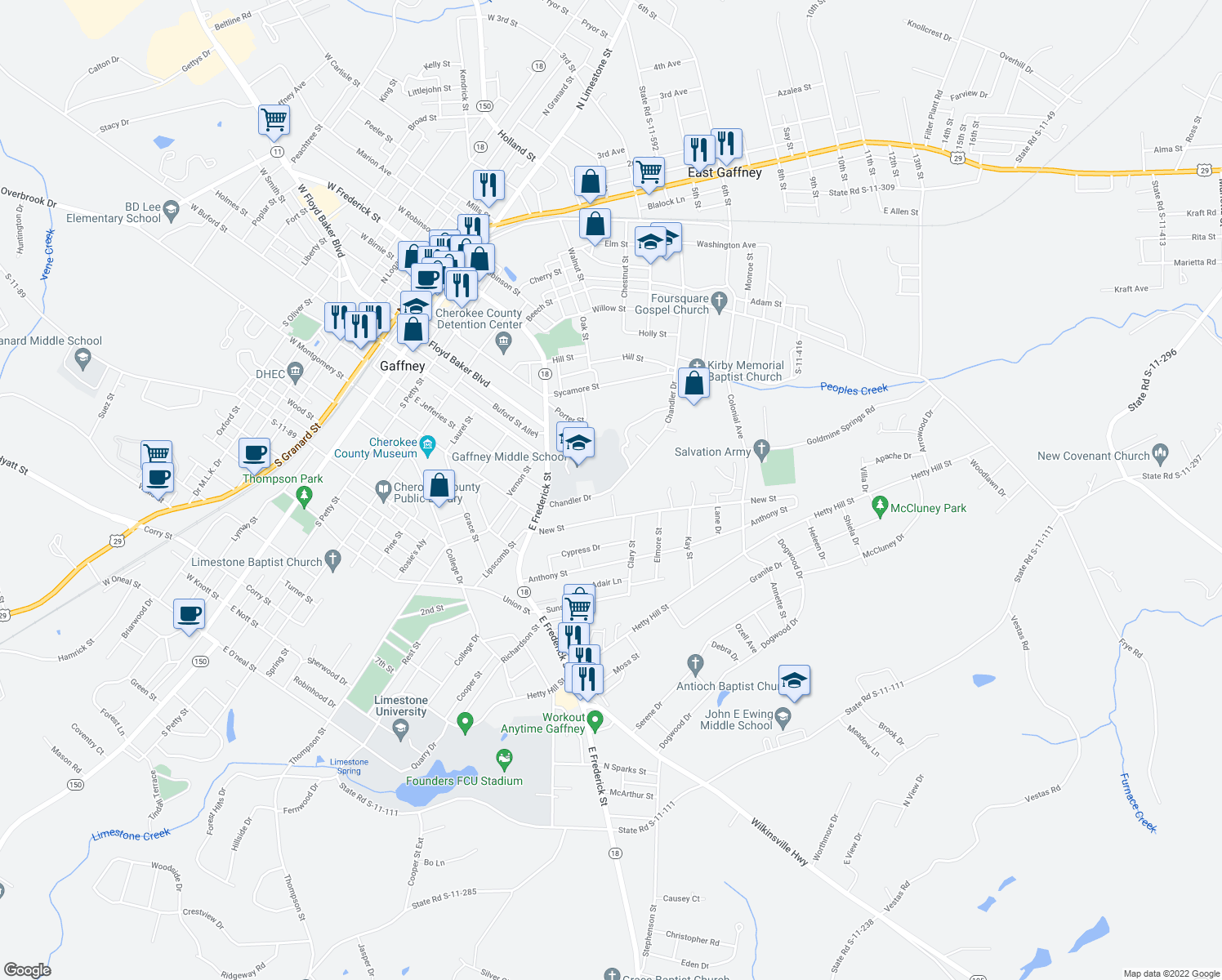 map of restaurants, bars, coffee shops, grocery stores, and more near Chandler Drive in Gaffney