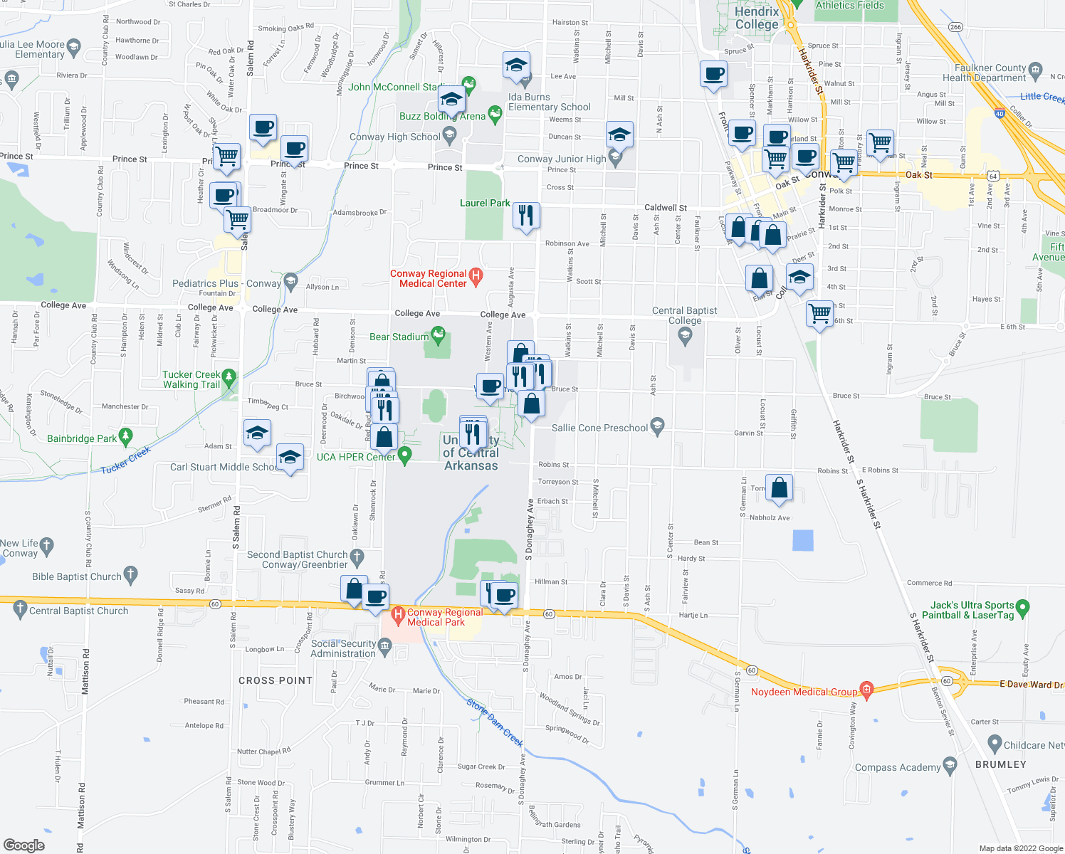 map of restaurants, bars, coffee shops, grocery stores, and more near 201 Donaghey Avenue in Conway