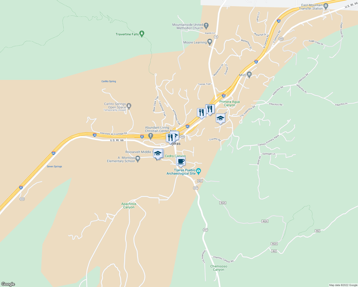 map of restaurants, bars, coffee shops, grocery stores, and more near in Tijeras