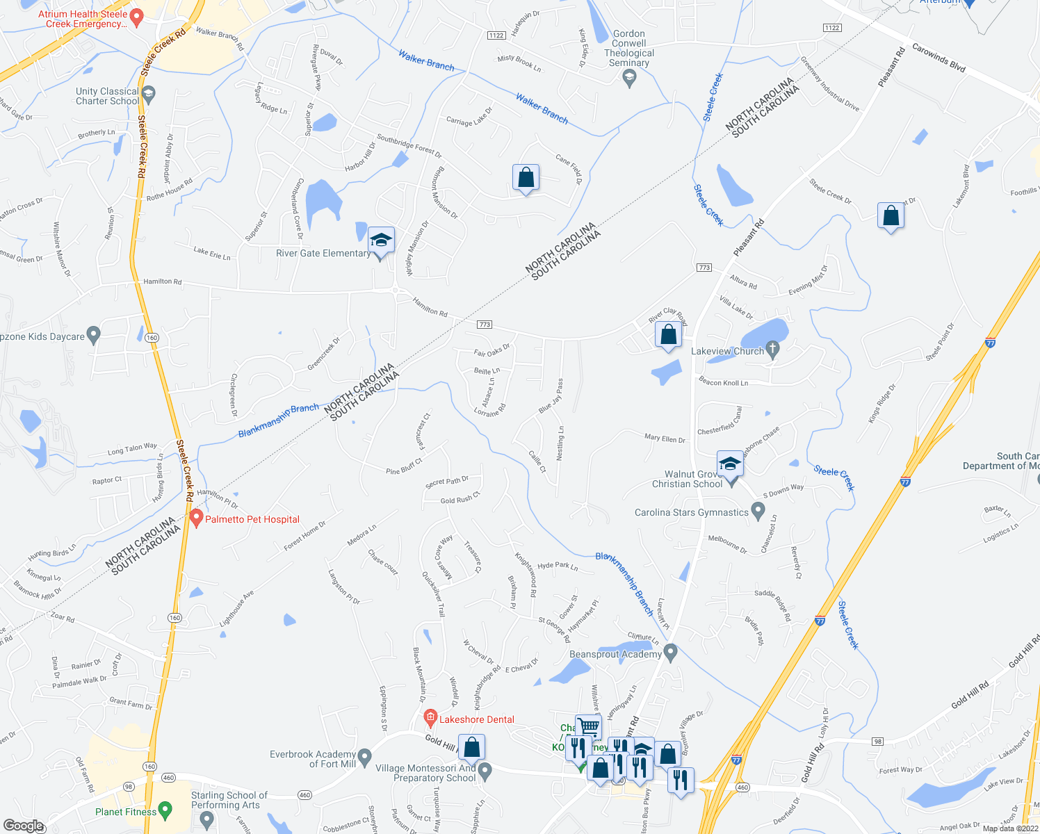 map of restaurants, bars, coffee shops, grocery stores, and more near 3458 Blue Jay Pass in Fort Mill