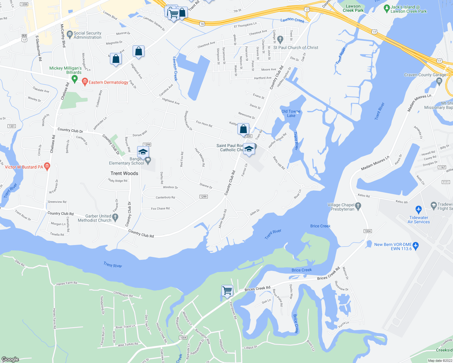 map of restaurants, bars, coffee shops, grocery stores, and more near 3132 Country Club Road in New Bern