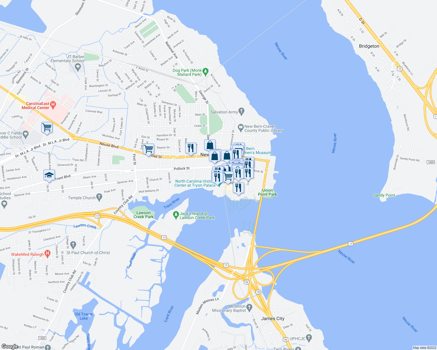 map of restaurants, bars, coffee shops, grocery stores, and more near 216 Metcalf St in New Bern