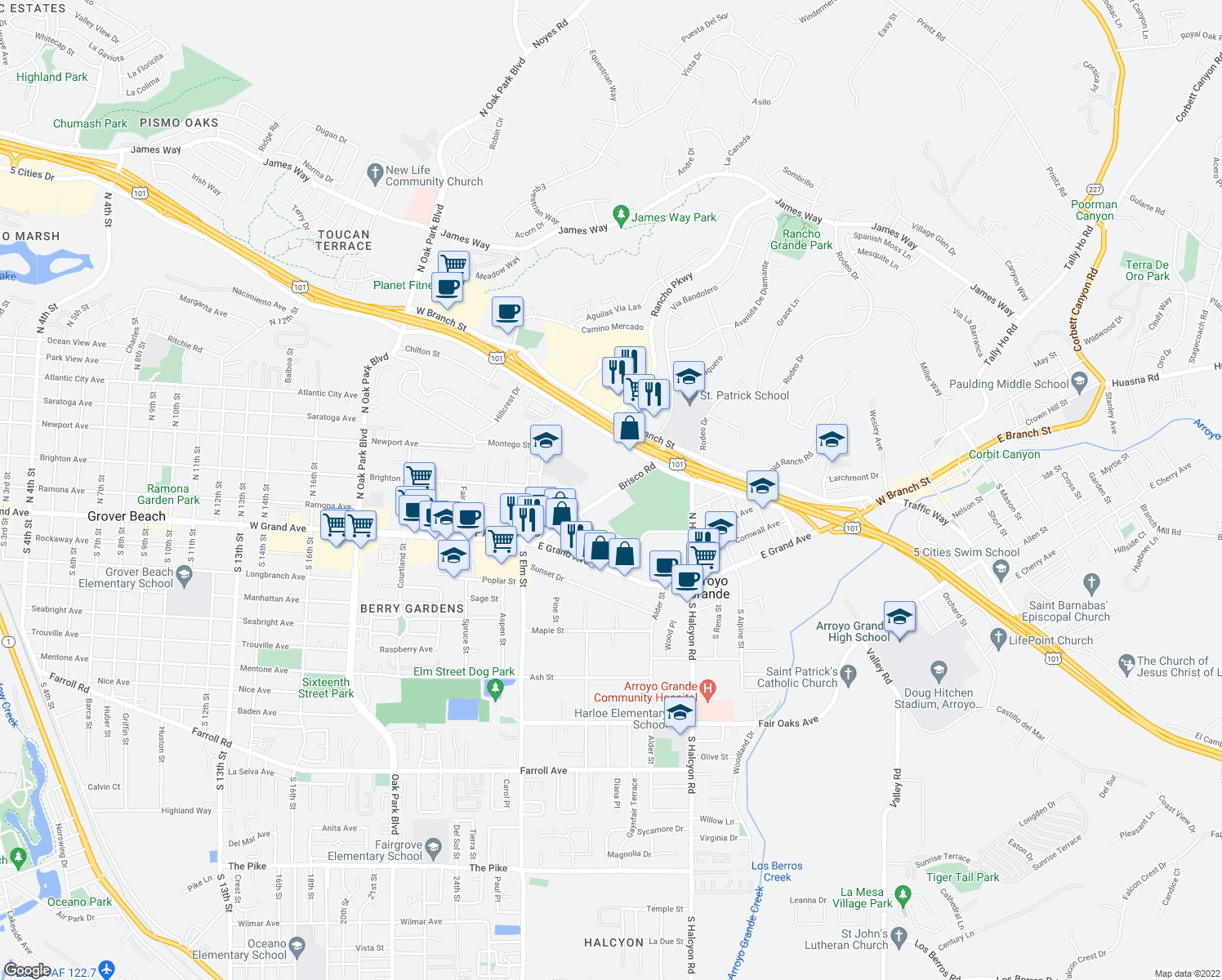 map of restaurants, bars, coffee shops, grocery stores, and more near 185 Brisco Road in Arroyo Grande
