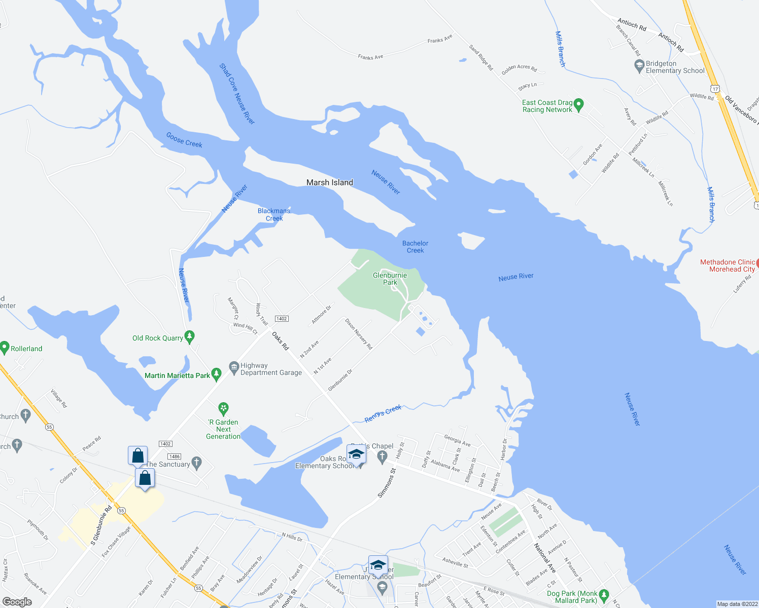 map of restaurants, bars, coffee shops, grocery stores, and more near Glenburnie Park in New Bern