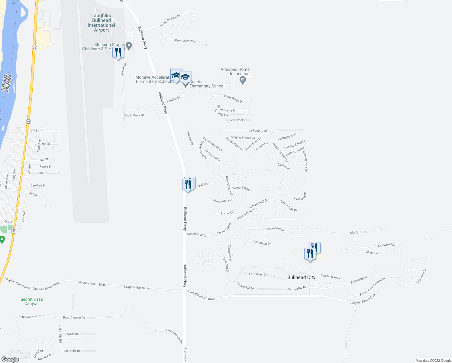 map of restaurants, bars, coffee shops, grocery stores, and more near 2713 Highview Drive in Bullhead City