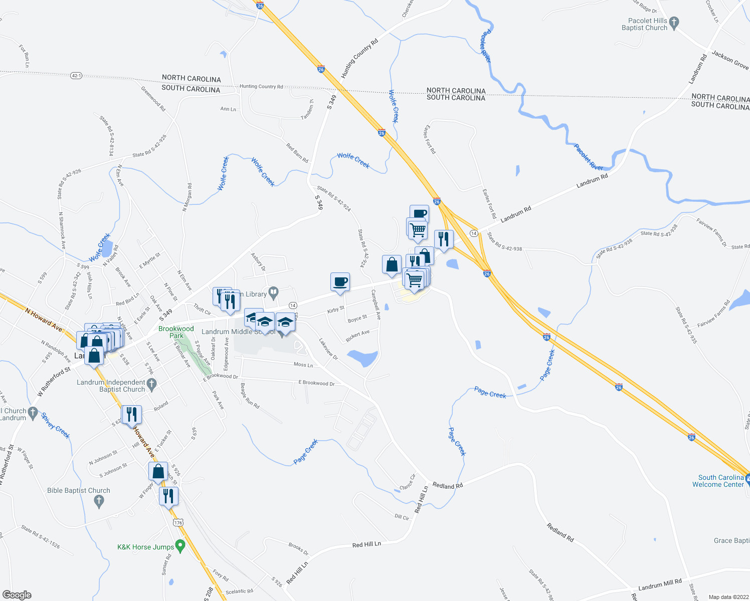 map of restaurants, bars, coffee shops, grocery stores, and more near 301-329 Campbell Avenue in Landrum