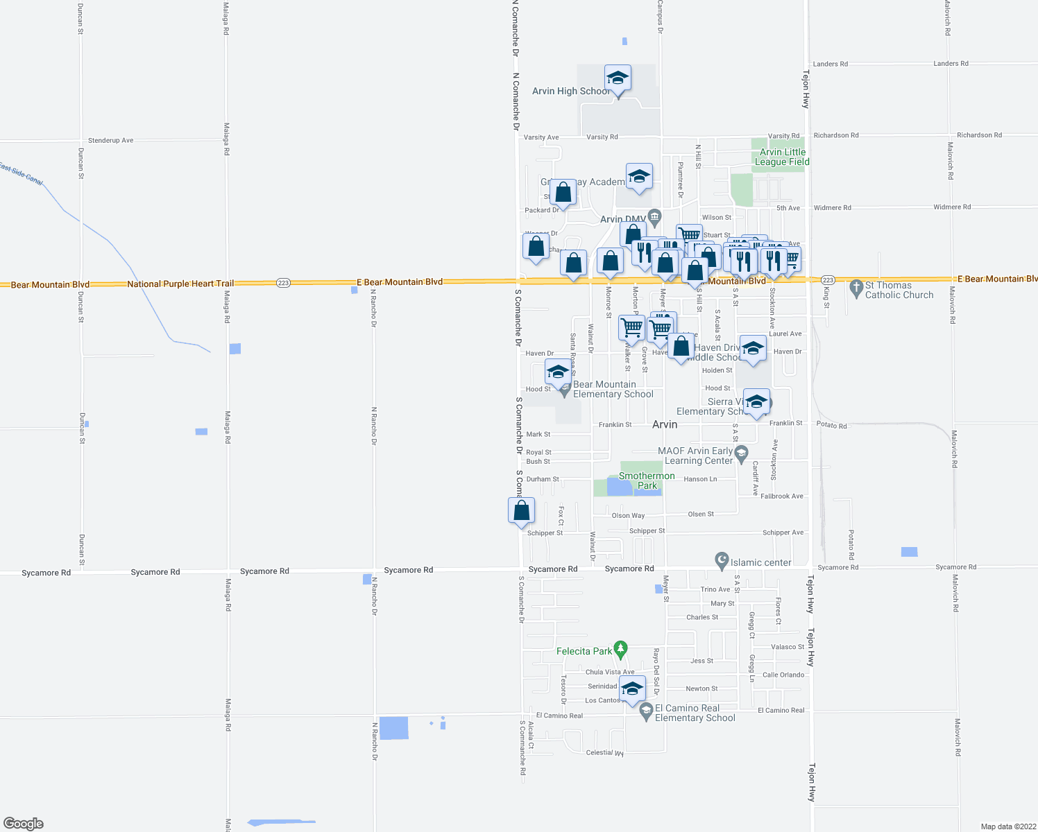 map of restaurants, bars, coffee shops, grocery stores, and more near 698 South Comanche Drive in Arvin